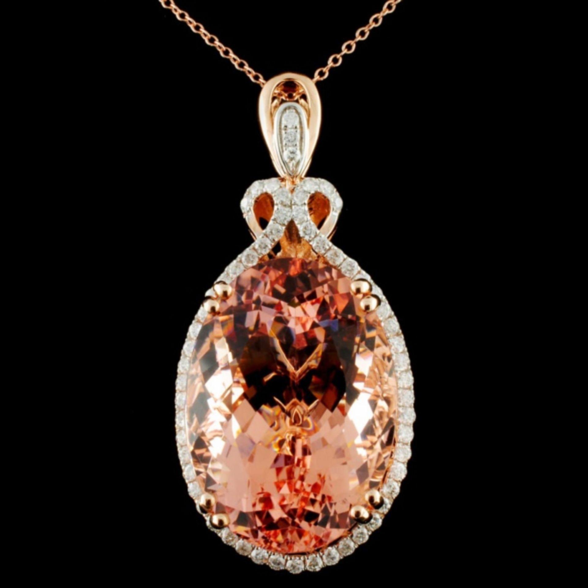 14K Gold 38.30ct Morganite & 0.80ctw Diamond Penda