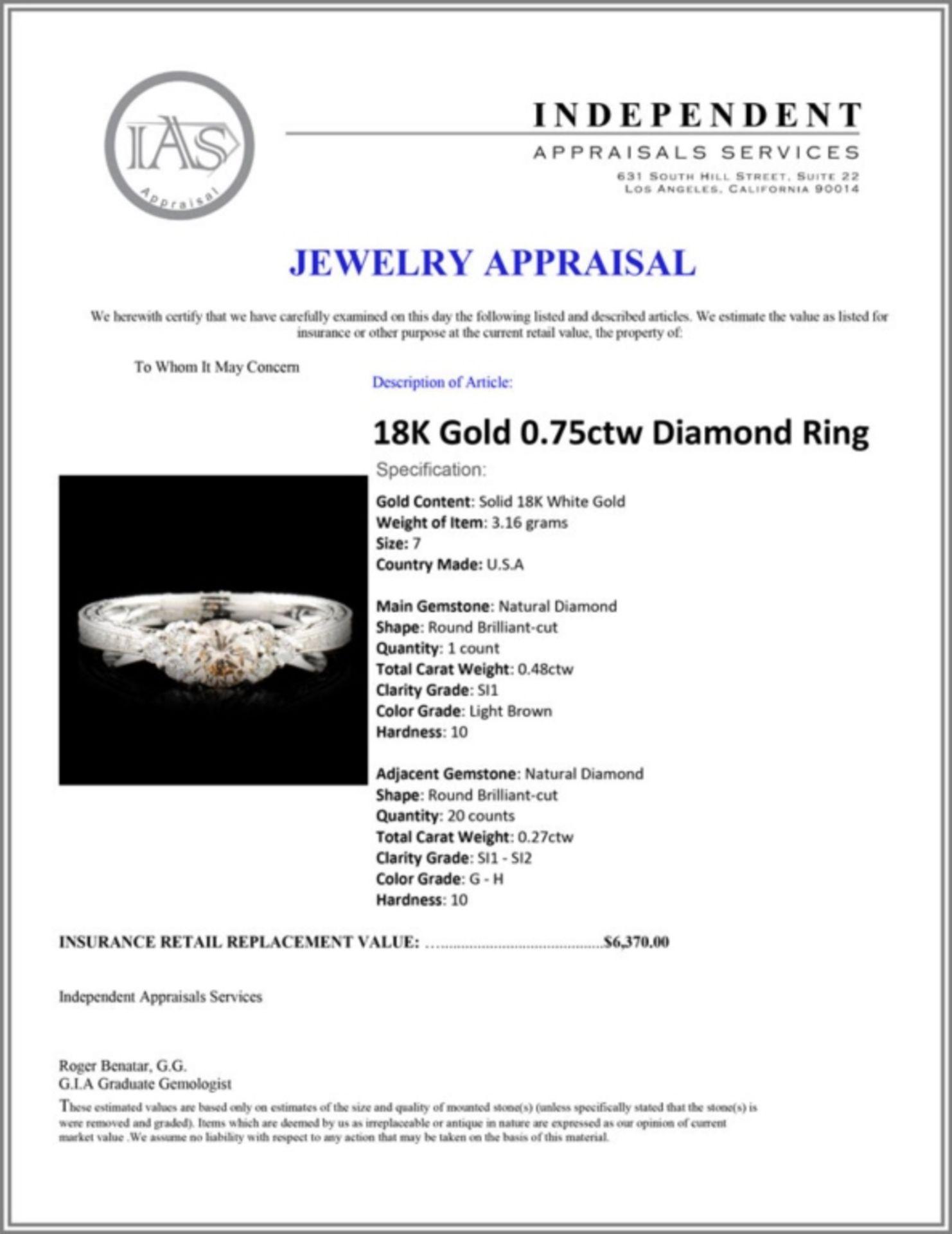18K Gold 0.75ctw Diamond Ring - Image 5 of 5