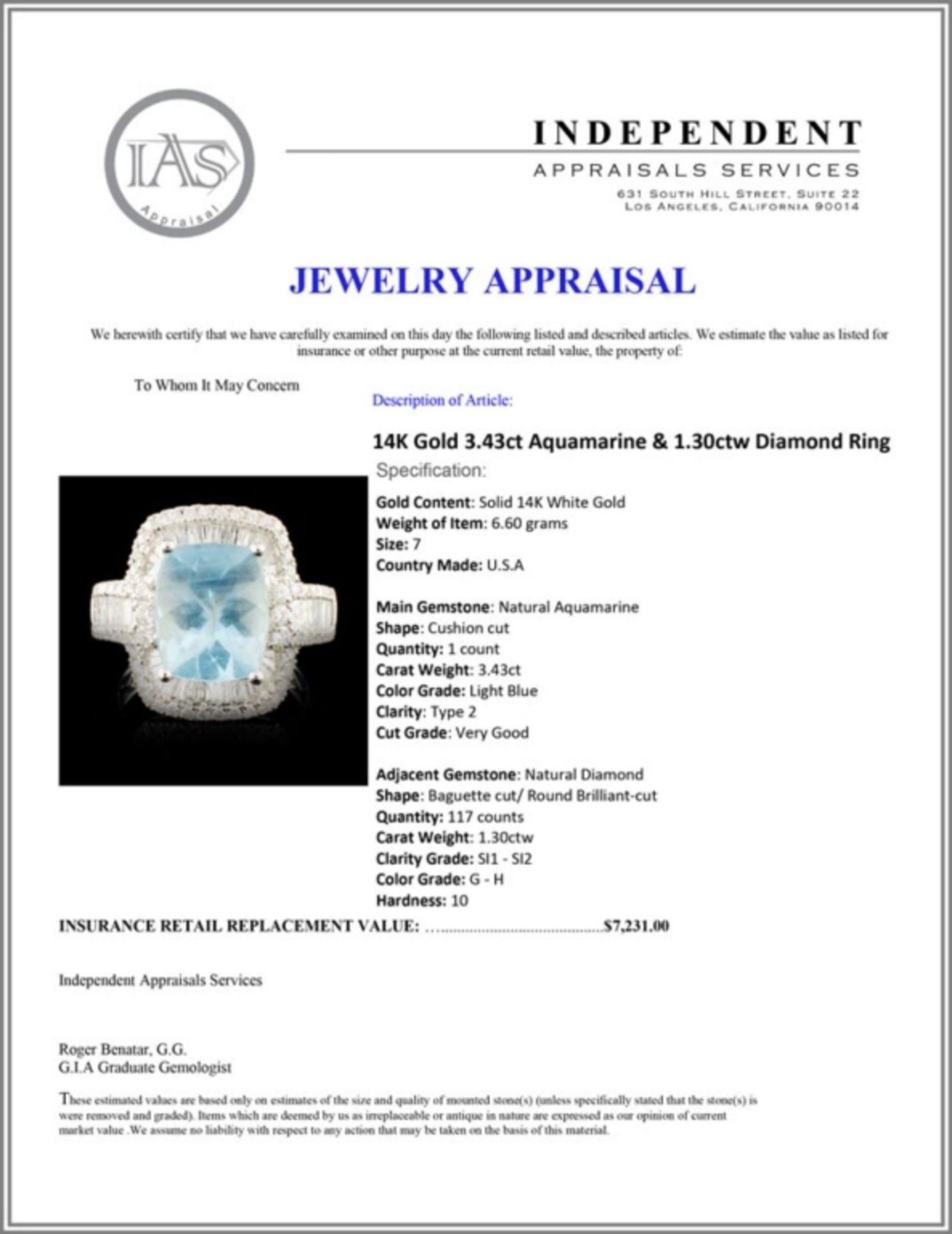 14K Gold 3.43ct Aquamarine & 1.30ctw Diamond Ring - Image 5 of 5