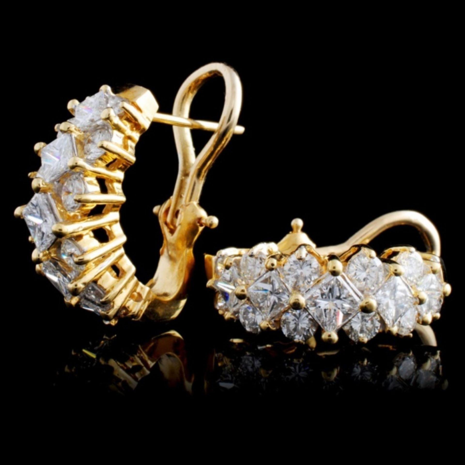 18K Yellow Gold 3.25ctw Diamond Earrings - Image 2 of 3