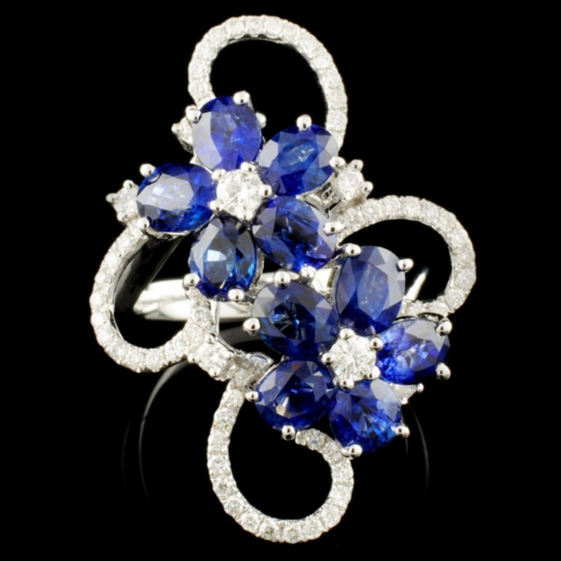 18K Gold 4.90ctw Sapphire & 0.68ctw Diamond Ring