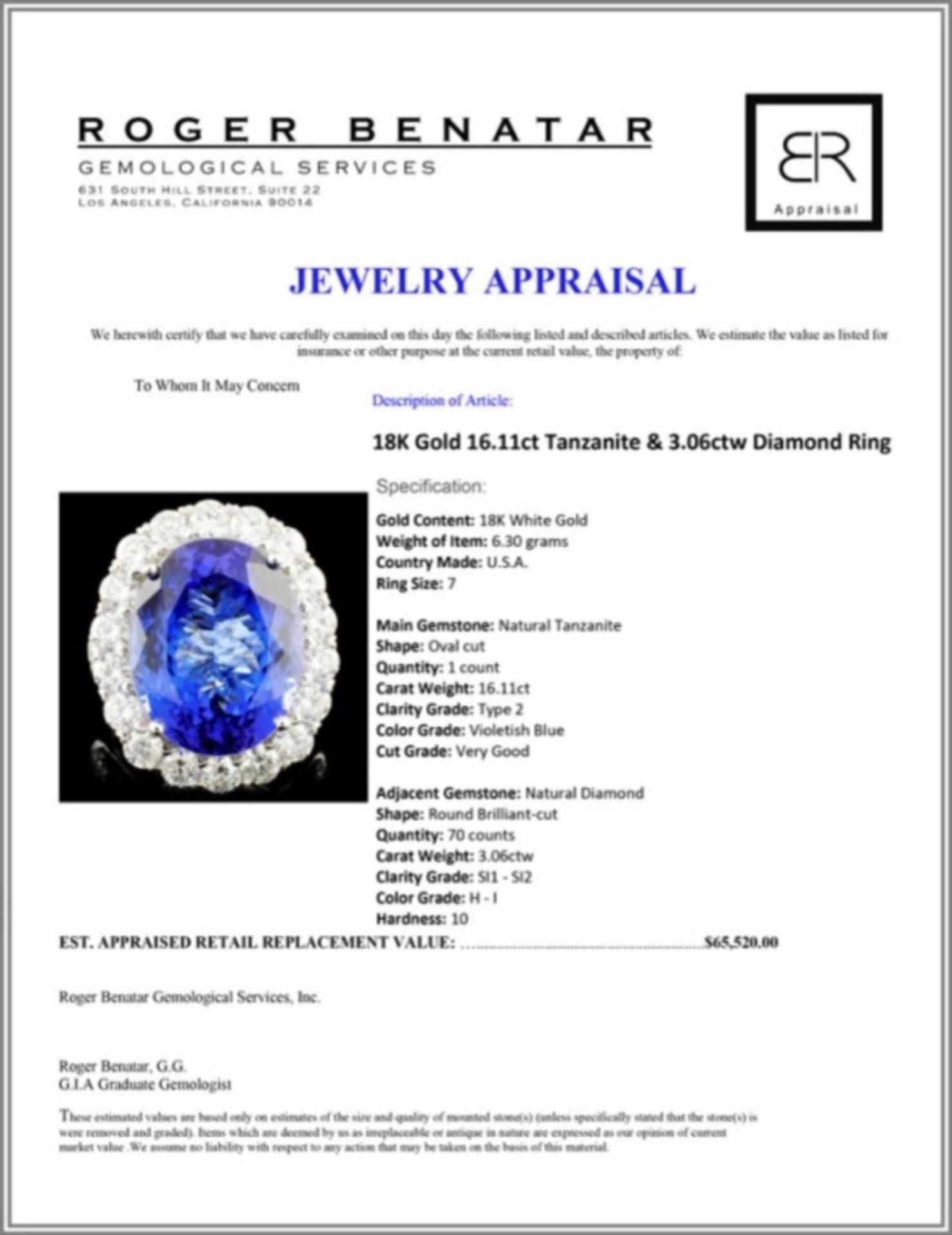 18K Gold 16.11ct Tanzanite & 3.06ctw Diamond Ring - Image 5 of 5