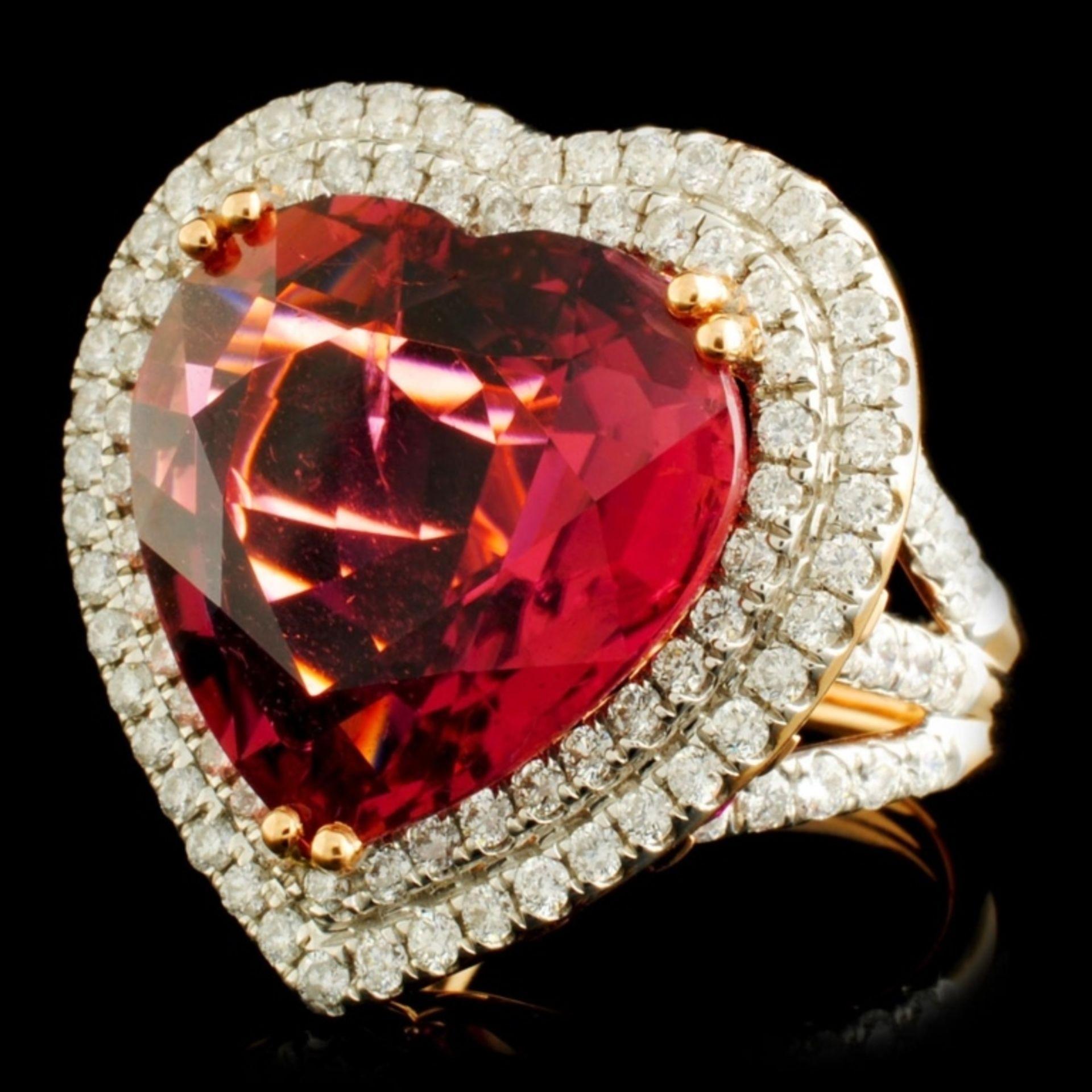 18K Gold 16.47ct Rubellite & 1.76ctw Diamond Ring - Image 2 of 6