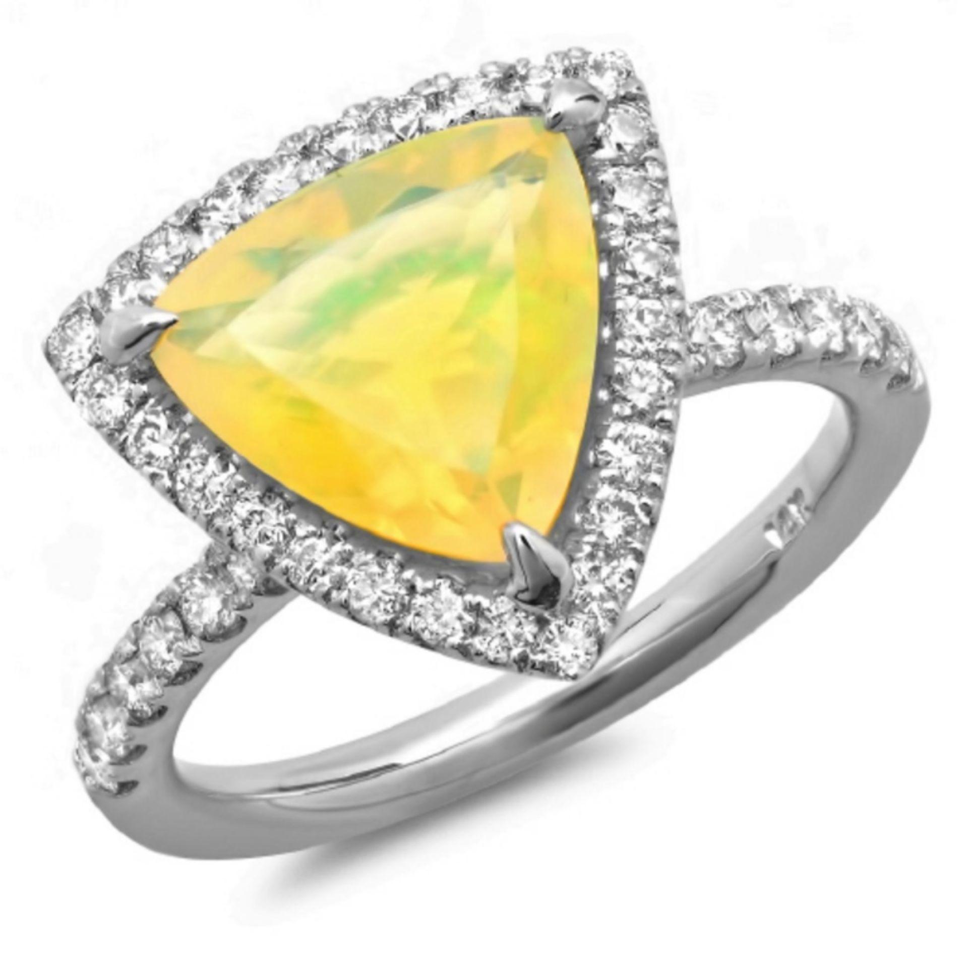 14K Gold 2.00ct Opal & 0.60ct Diamond Ring