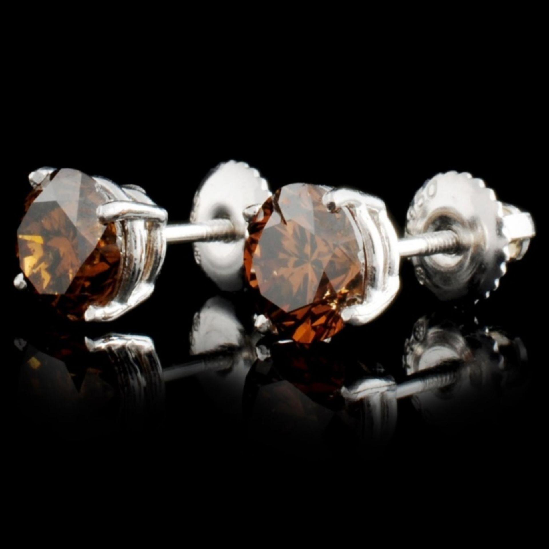 14K Gold 2.16ctw Fancy Color Diamond Earrings - Image 2 of 3