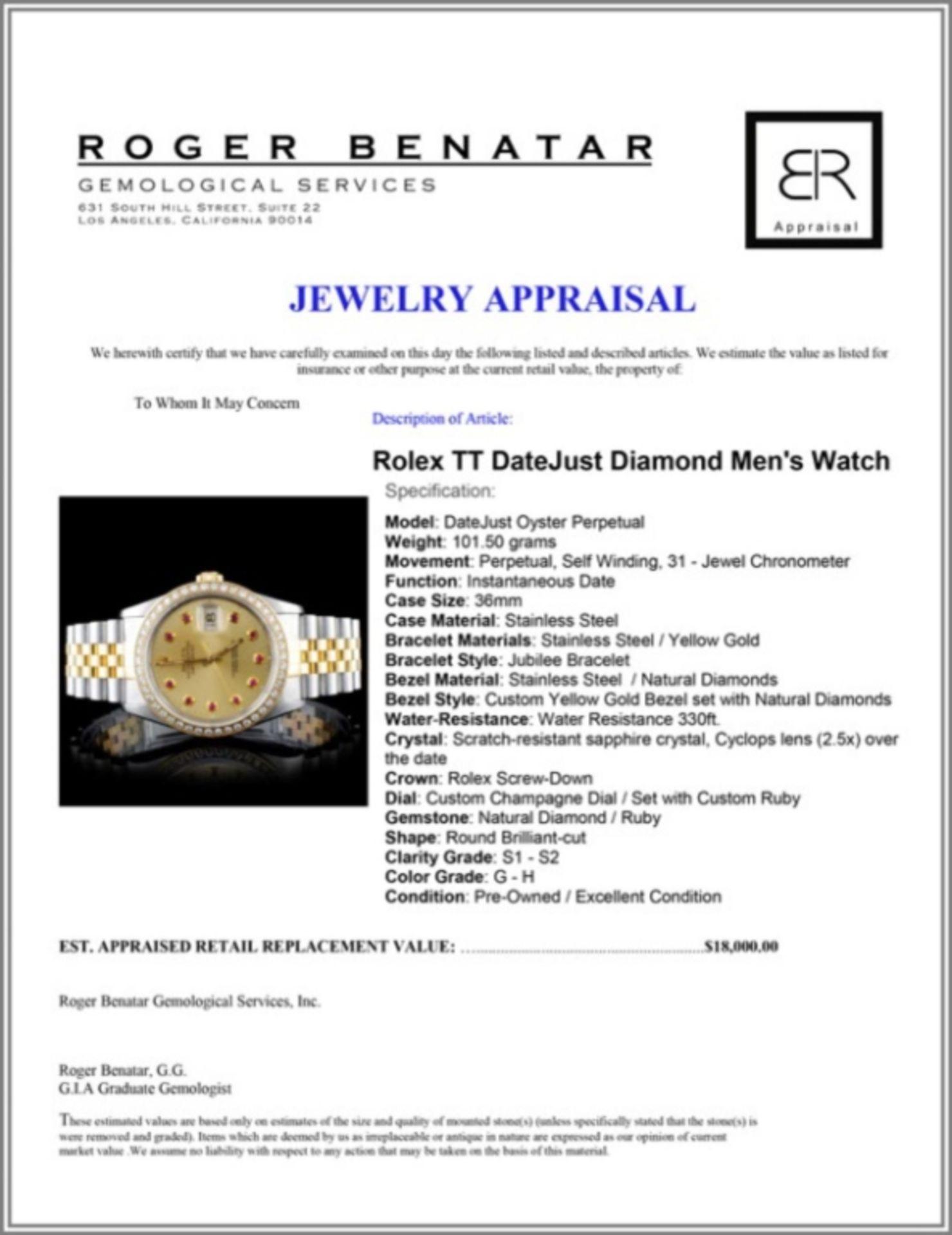 Rolex YG/SS DateJust 1.50ct Diamond 36MM Watch - Image 4 of 4