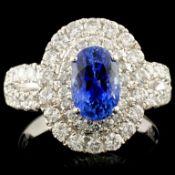 18K Gold 1.99ct Sapphire & 1.16ctw Diamond Ring
