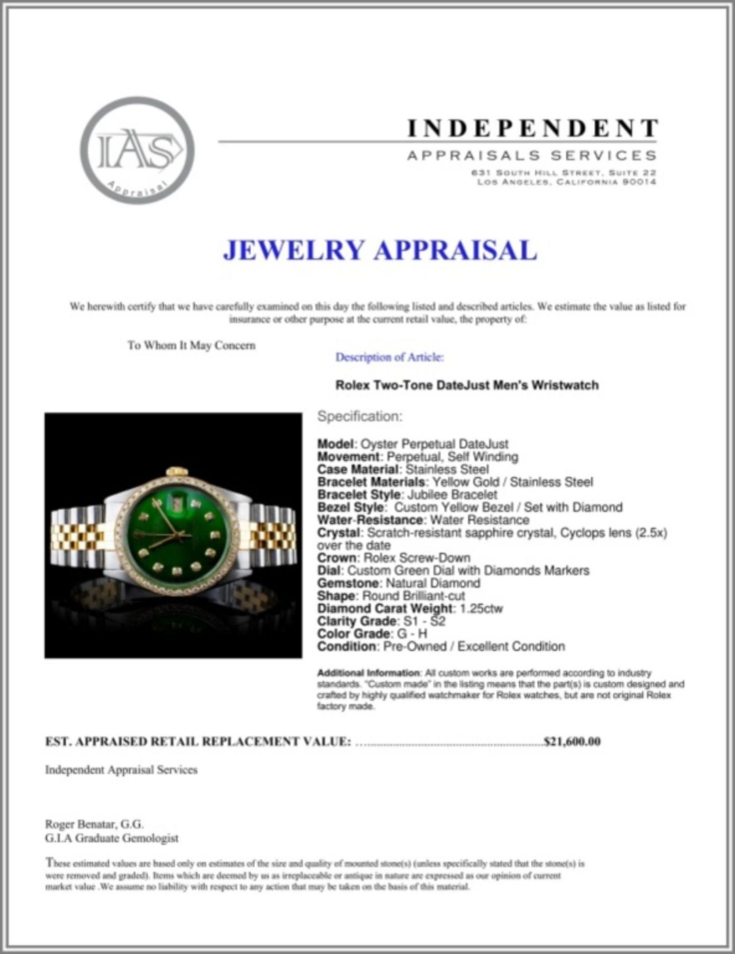 Rolex YG/SS DateJust Diamond 36MM Watch - Image 6 of 6
