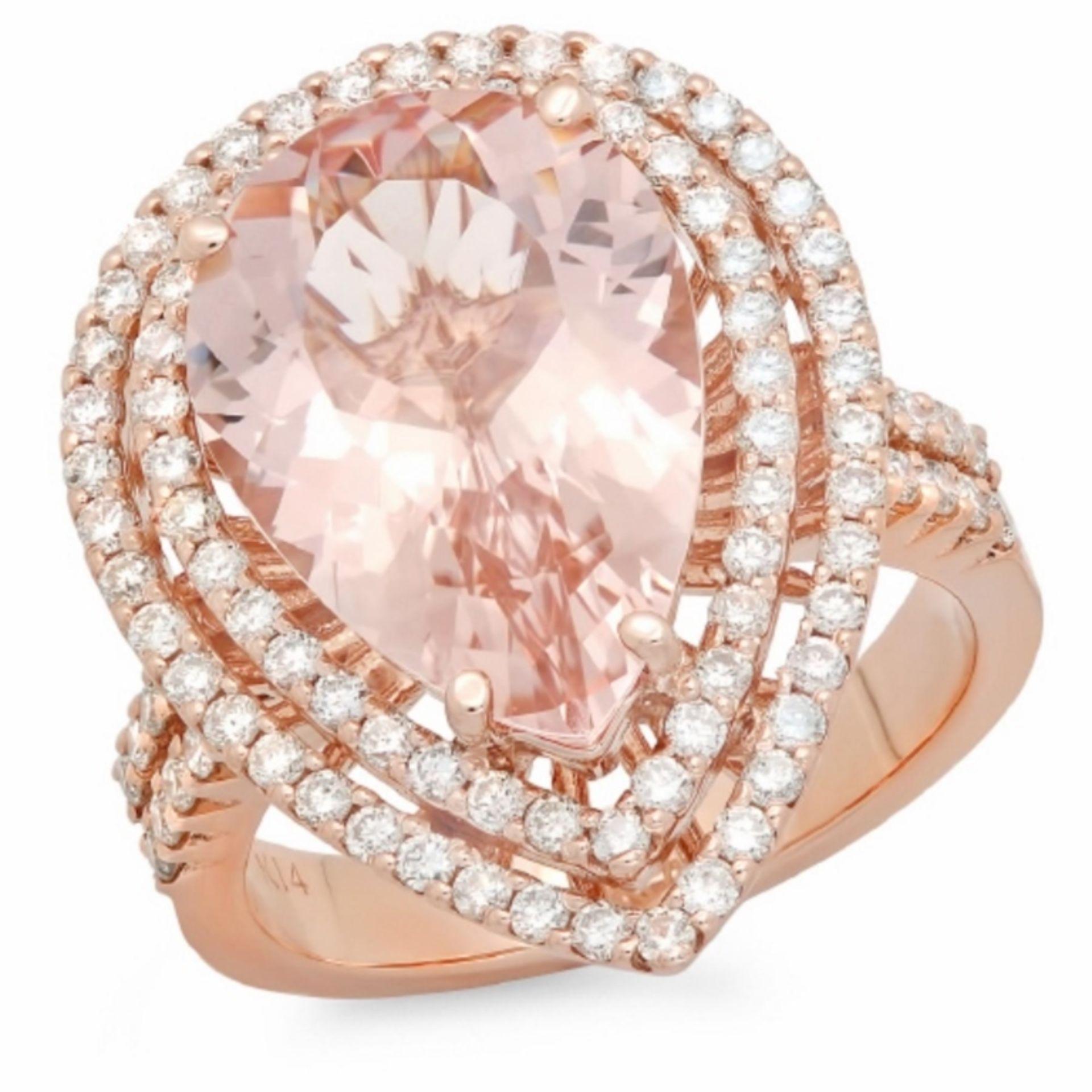 14K Gold 6.00ct Morganite & 1.00ct Diamond Ring