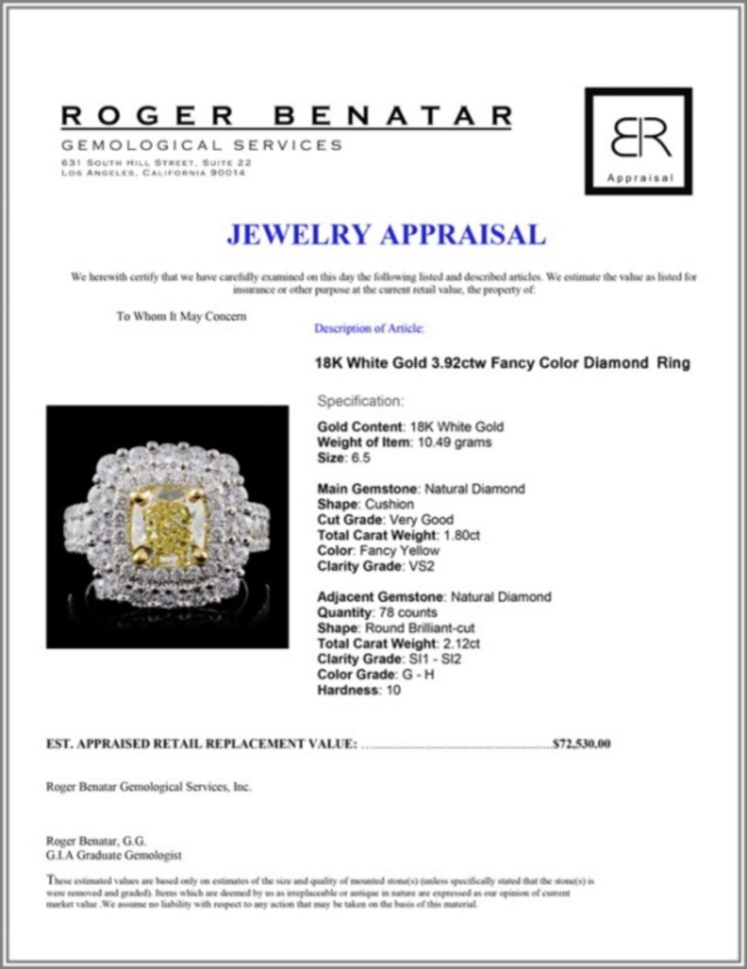 18K White Gold 3.92ctw Fancy Color Diamond Ring - Image 4 of 4