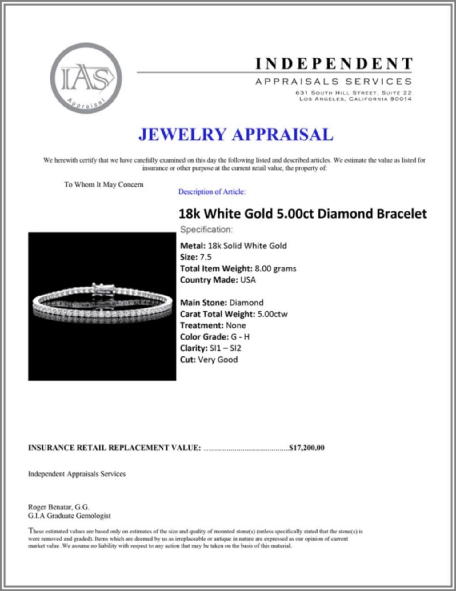 ^18k White Gold 5.00ct Diamond Bracelet - Image 4 of 4