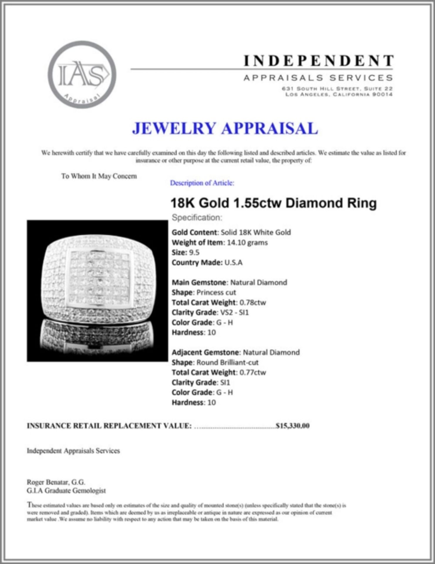 18K Gold 1.55ctw Diamond Ring - Image 4 of 4