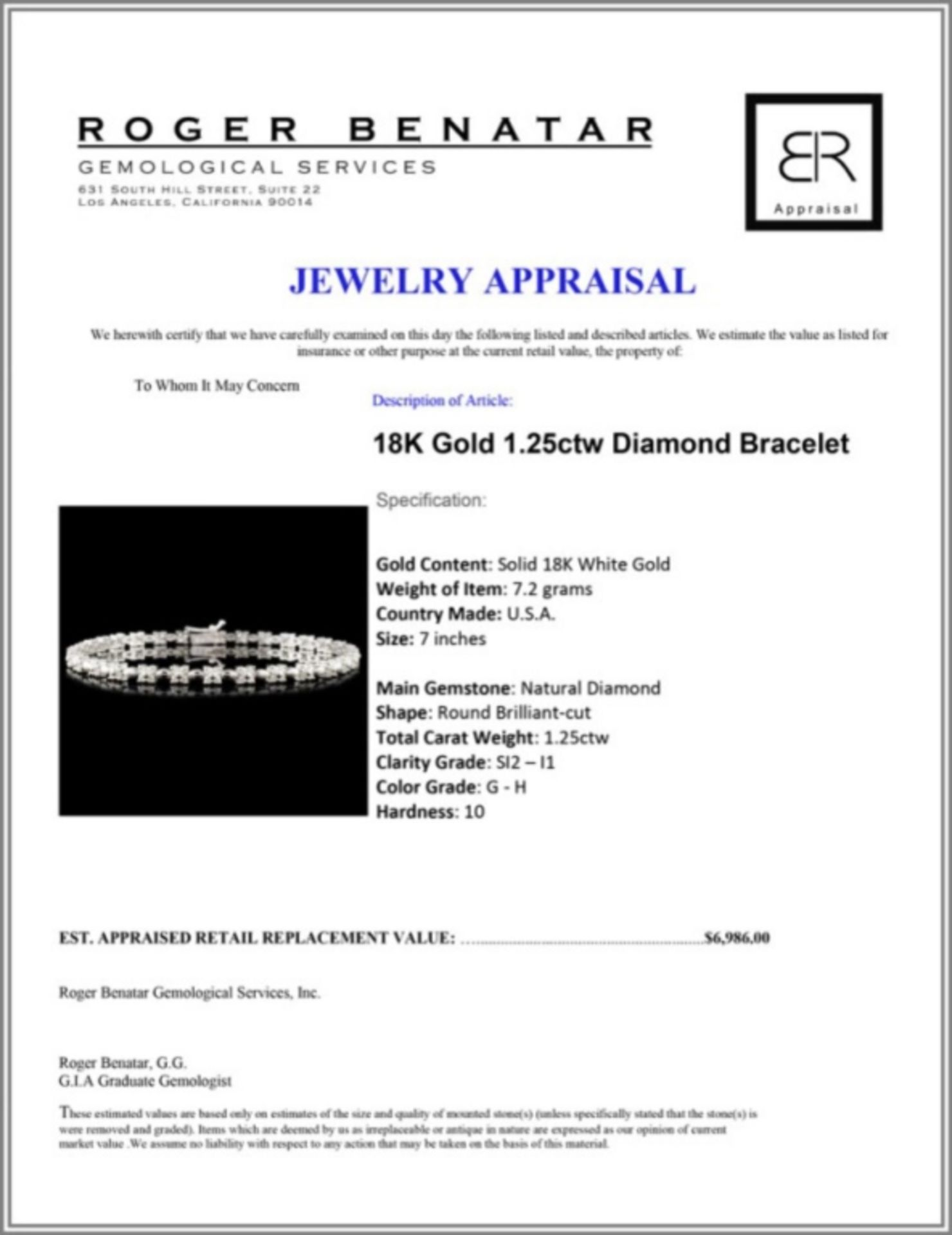 18K Gold 1.25ctw Diamond Bracelet - Image 3 of 3