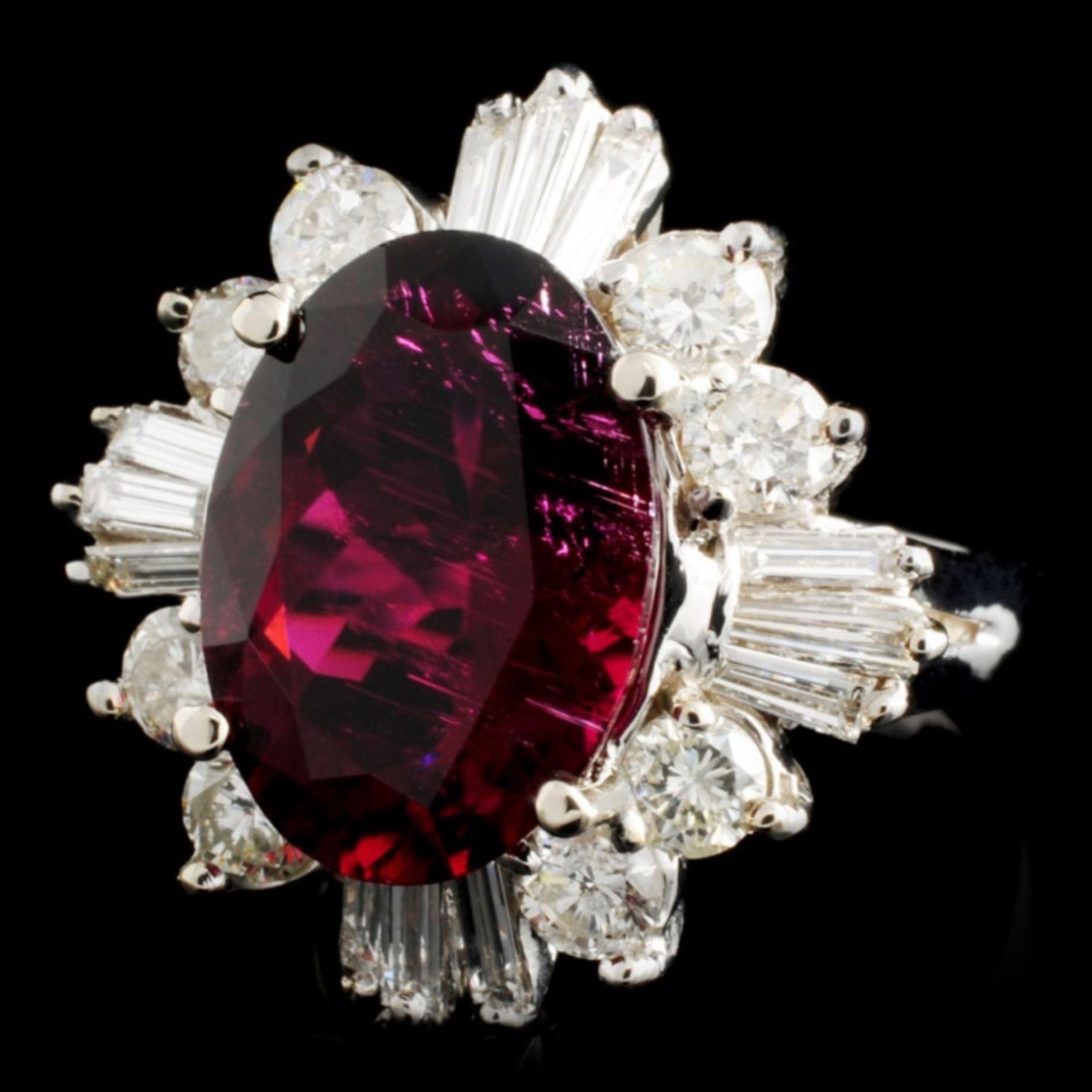14K Gold 5.46ct Tourmaline & 1.72ctw Diamond Ring - Image 2 of 4
