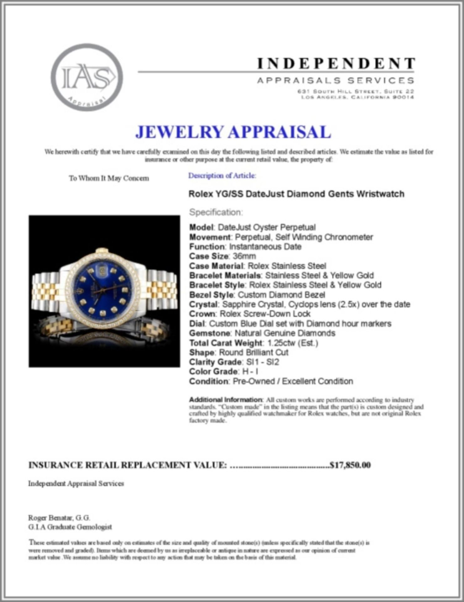 Rolex YG/SS DateJust Diamond 36MM Watch - Image 5 of 5