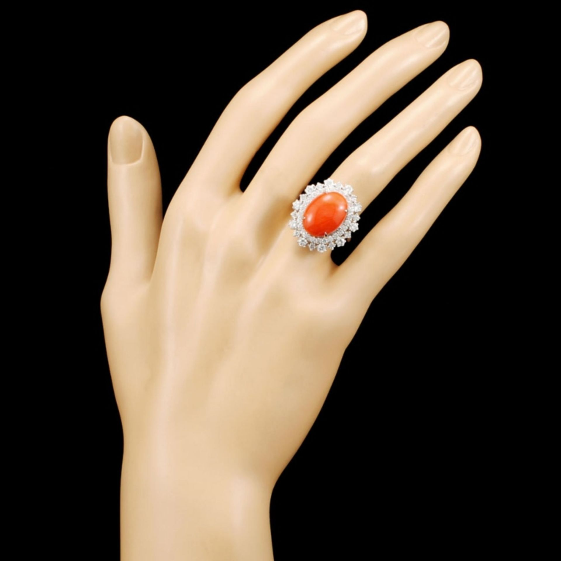 14K Gold 5.47ct Coral & 1.82ctw Diamond Ring - Image 4 of 5