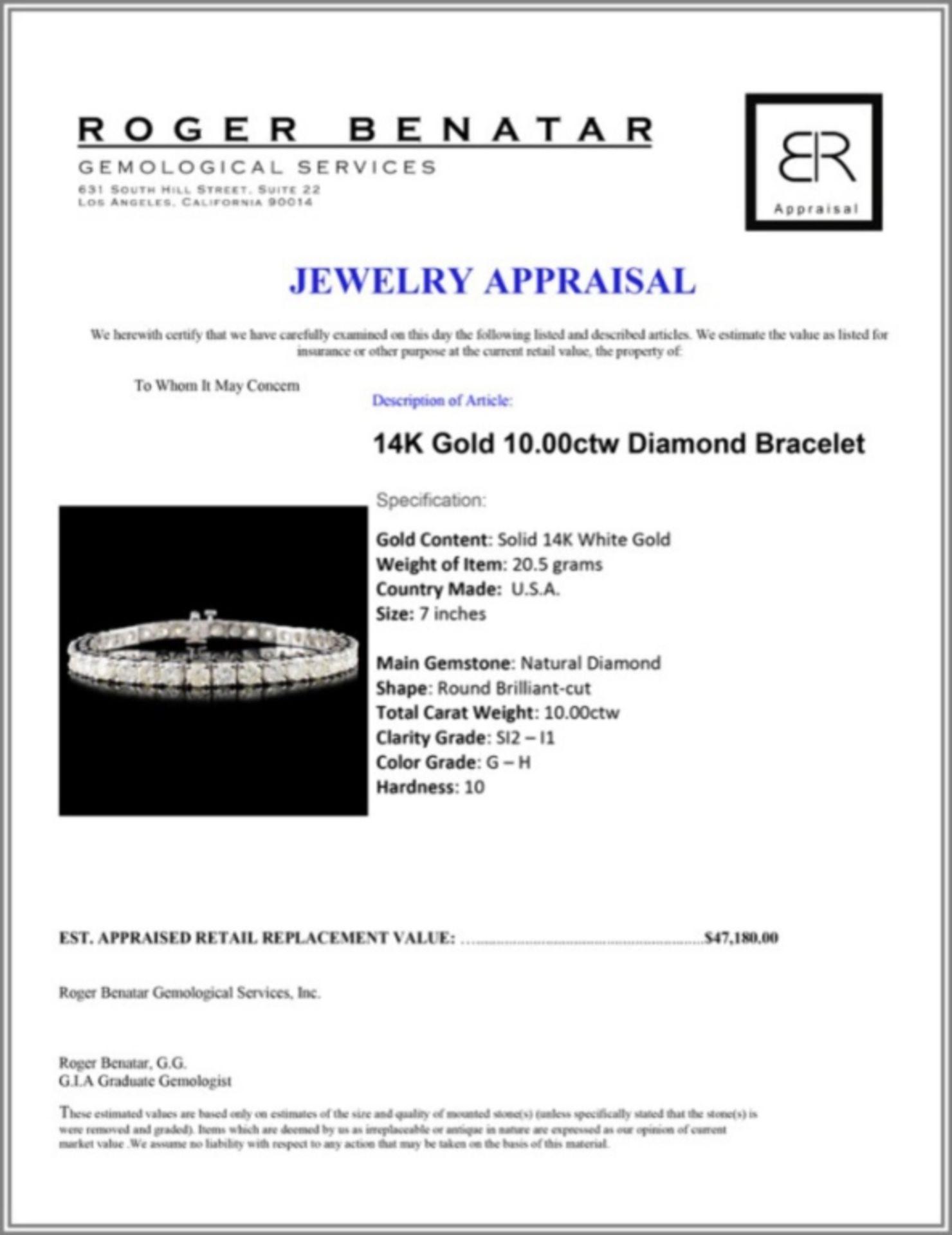 14K Gold 10.00ctw Diamond Bracelet - Image 3 of 3