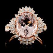 18K Gold 3.80ct Morganite & 0.54ct Diamond Ring