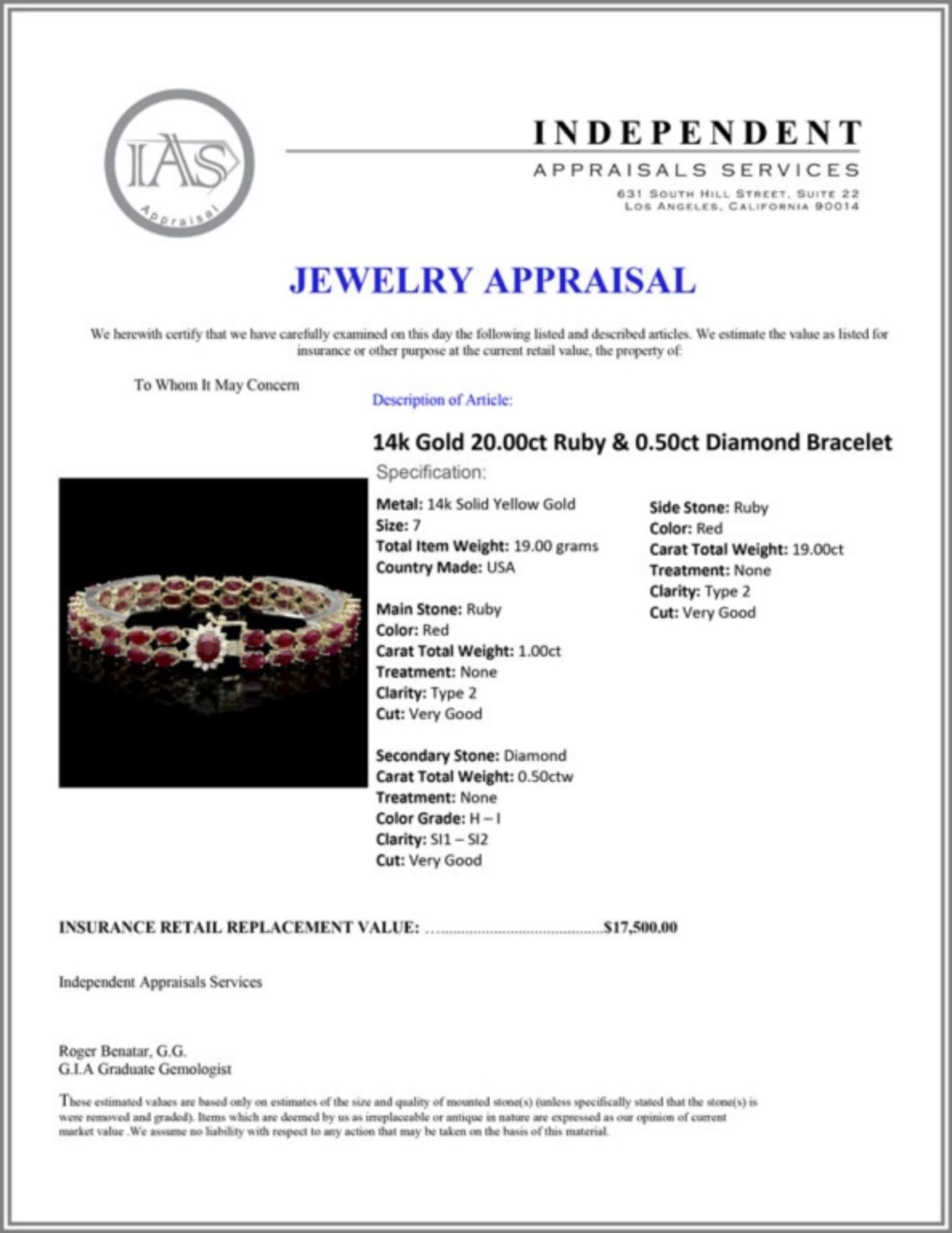 `14k Gold 20.00ct Ruby & 0.50ct Diamond Bracelet - Image 3 of 3