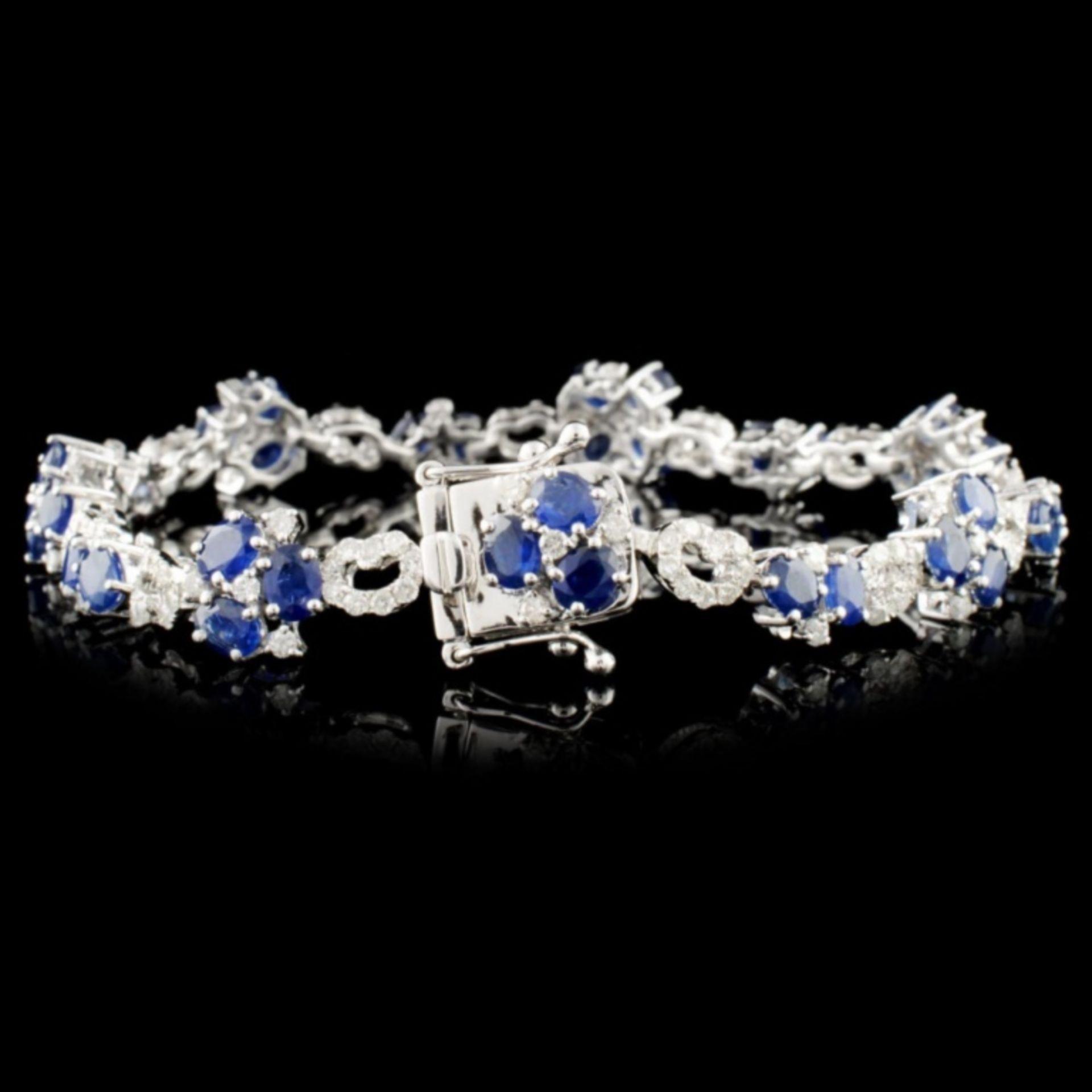 14K Gold 7.68ctw Sapphire & 1.89ctw Diamond Bracel - Image 2 of 3