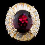 14K Gold 4.02ct Tourmaline & 1.36ctw Diamond Ring