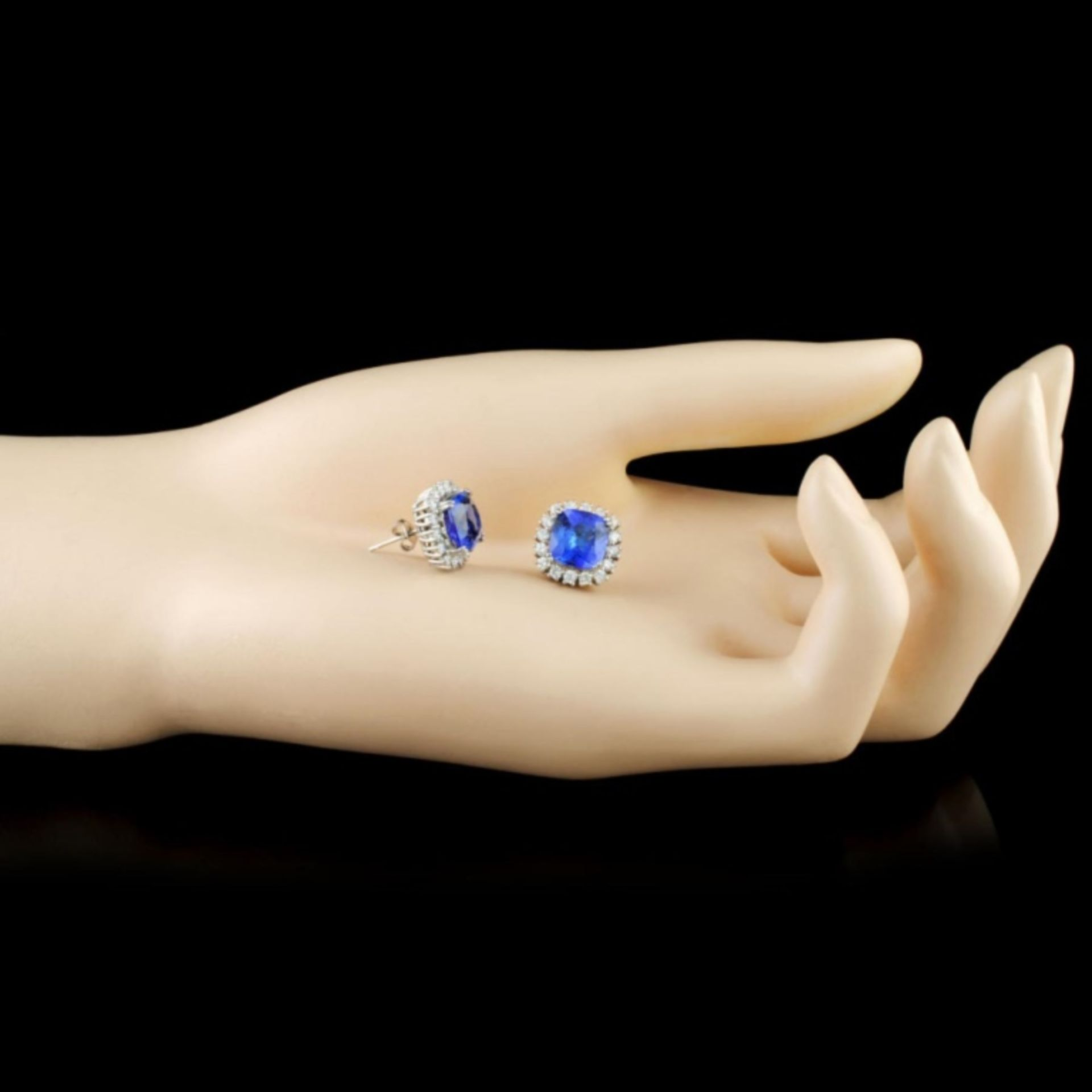 14K Gold 5.54ct Tanzanite & 1.08ctw Diamond Earrin - Image 2 of 3