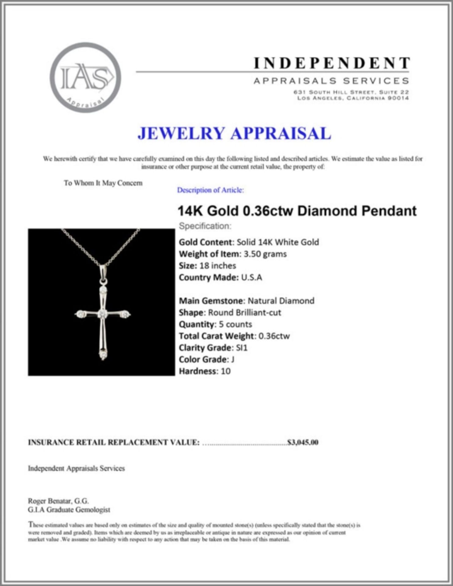 14K Gold 0.36ctw Diamond Pendant - Image 4 of 4