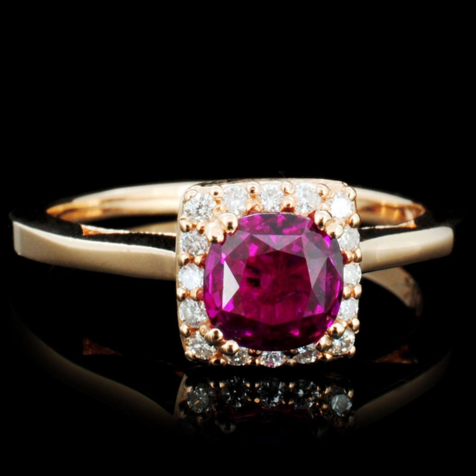 18K Gold 1.00ct Ruby & 0.35ctw Diamond Ring