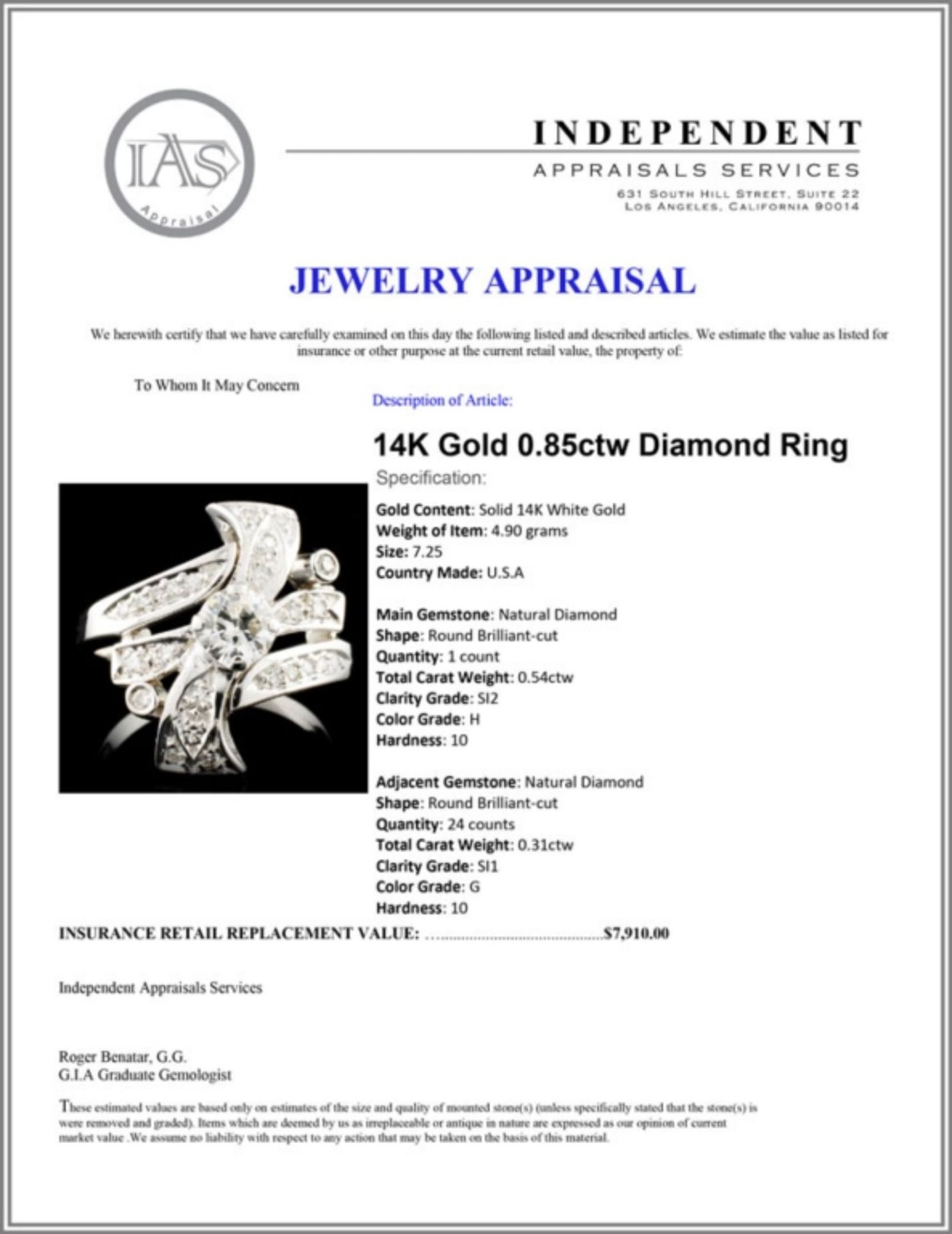 14K Gold 0.85ctw Diamond Ring - Image 5 of 5