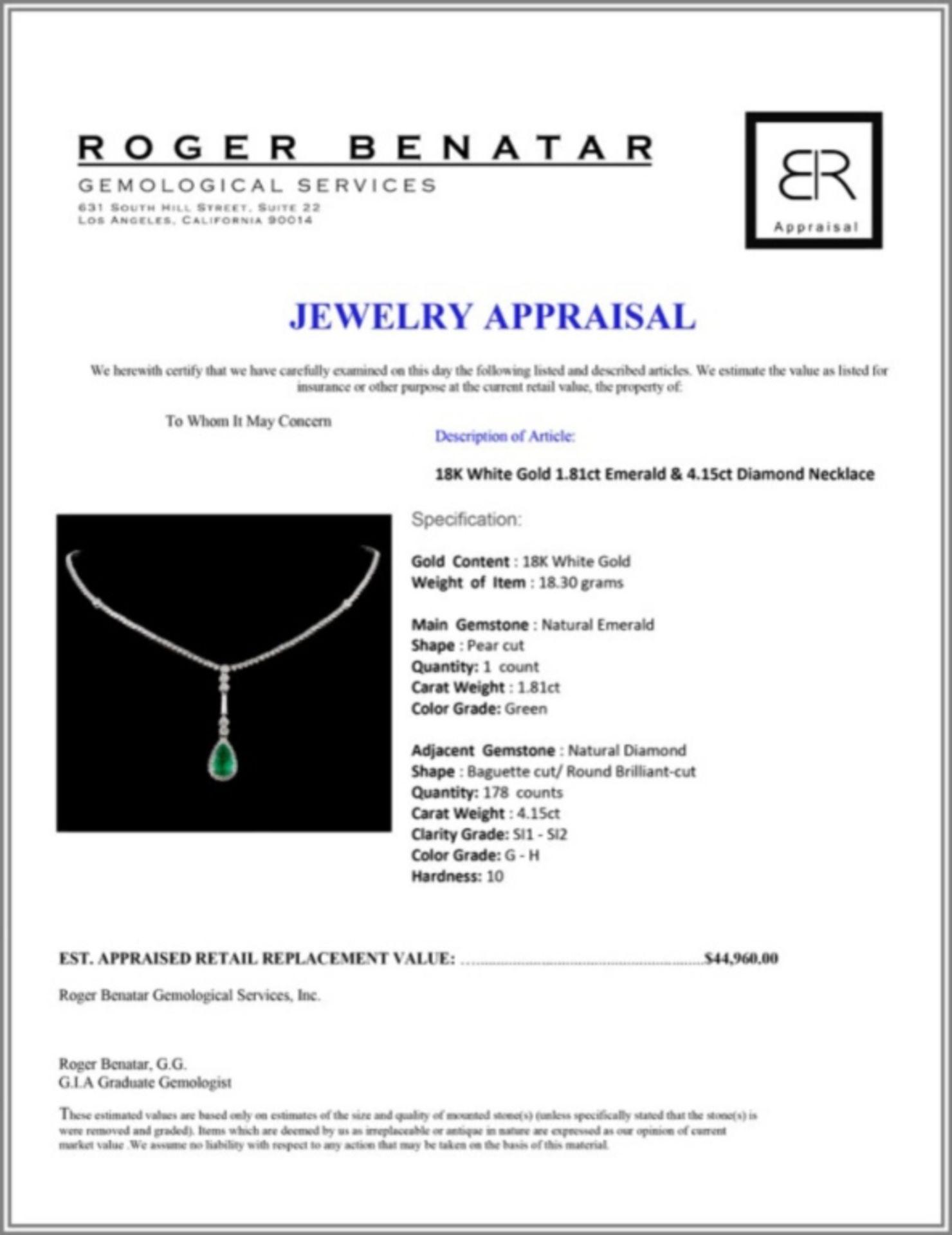 18K White Gold 1.81ct Emerald & 4.15ct Diamond Nec - Image 3 of 3