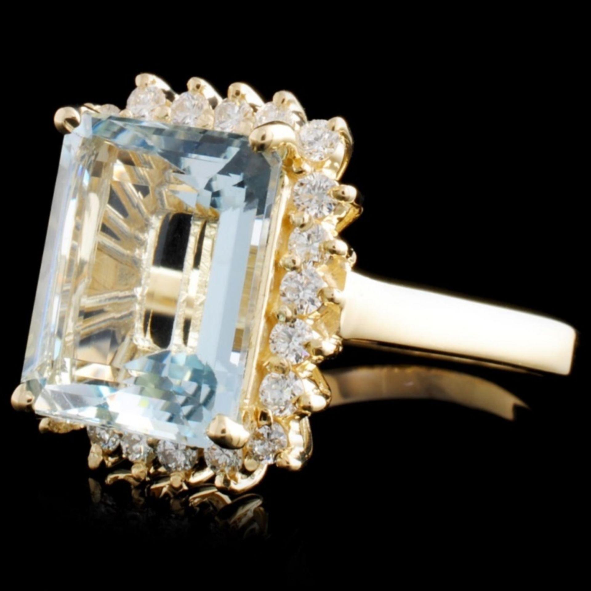 14K Gold 5.45ct Aquamarine & 0.52ctw Diamond Ring - Image 2 of 4