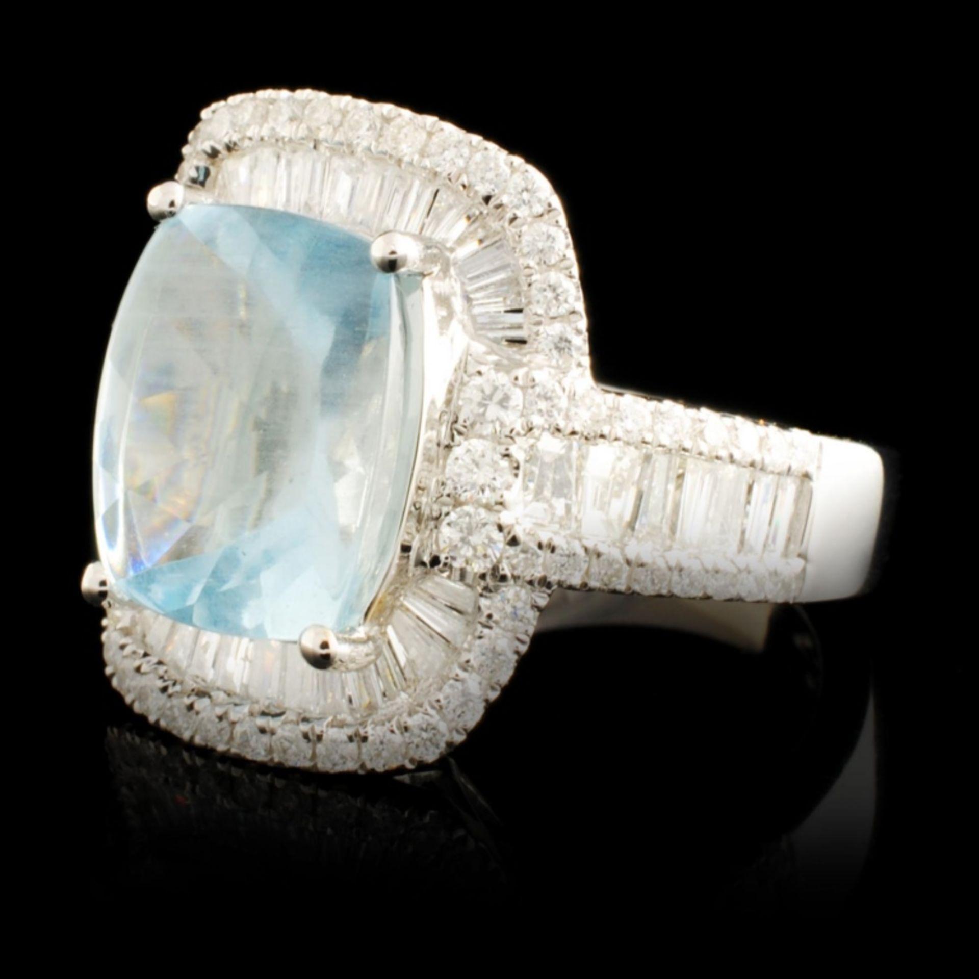 14K Gold 3.43ct Aquamarine & 1.30ctw Diamond Ring - Image 2 of 5