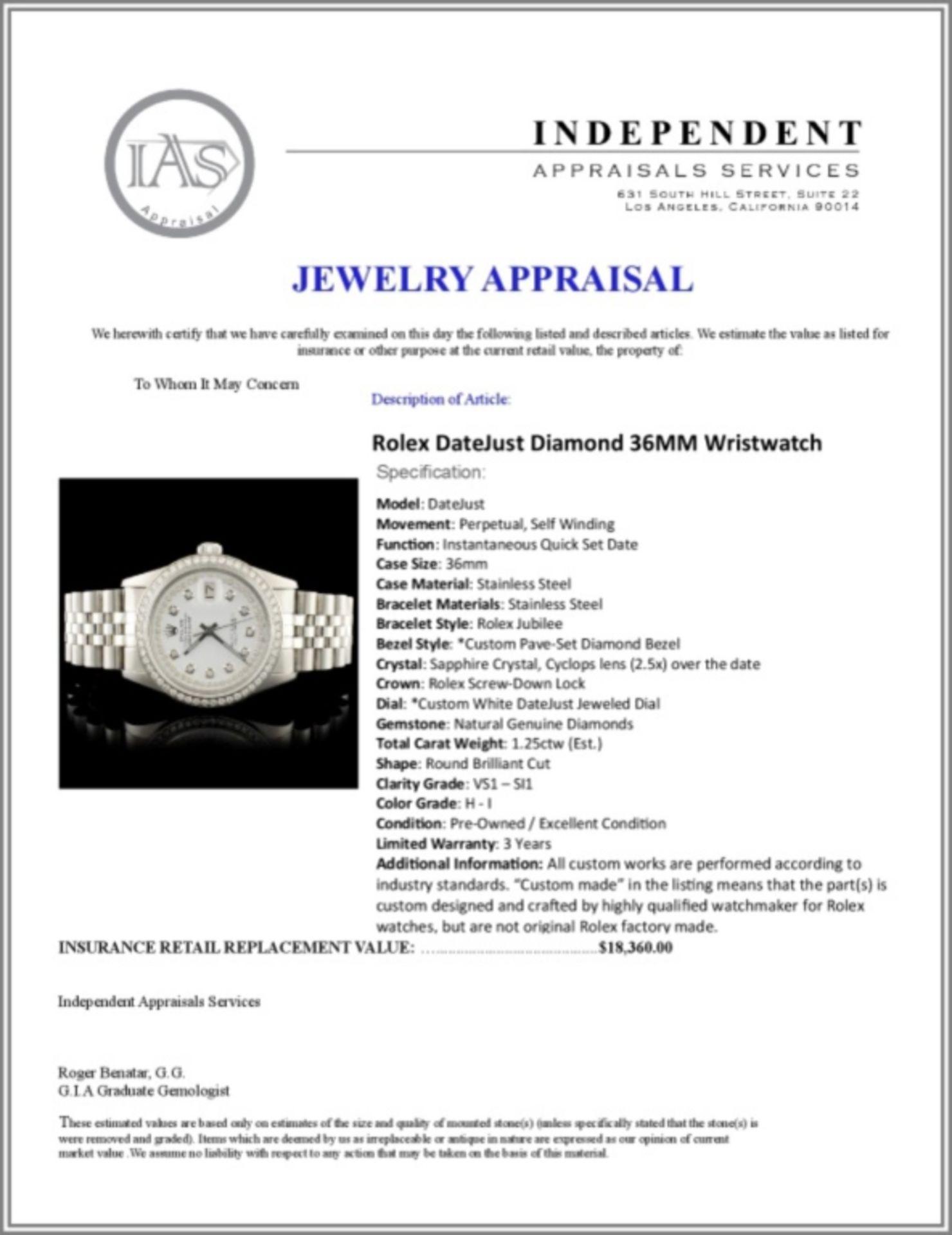 Rolex DateJust Diamond 36MM Wristwatch - Image 7 of 7