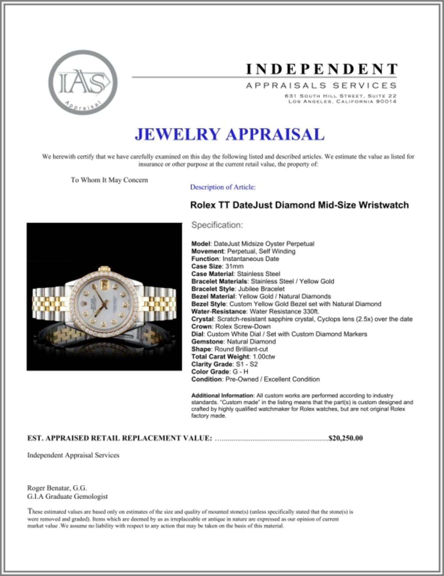 Rolex DateJust Diamond 31mm Wristwatch - Image 5 of 5
