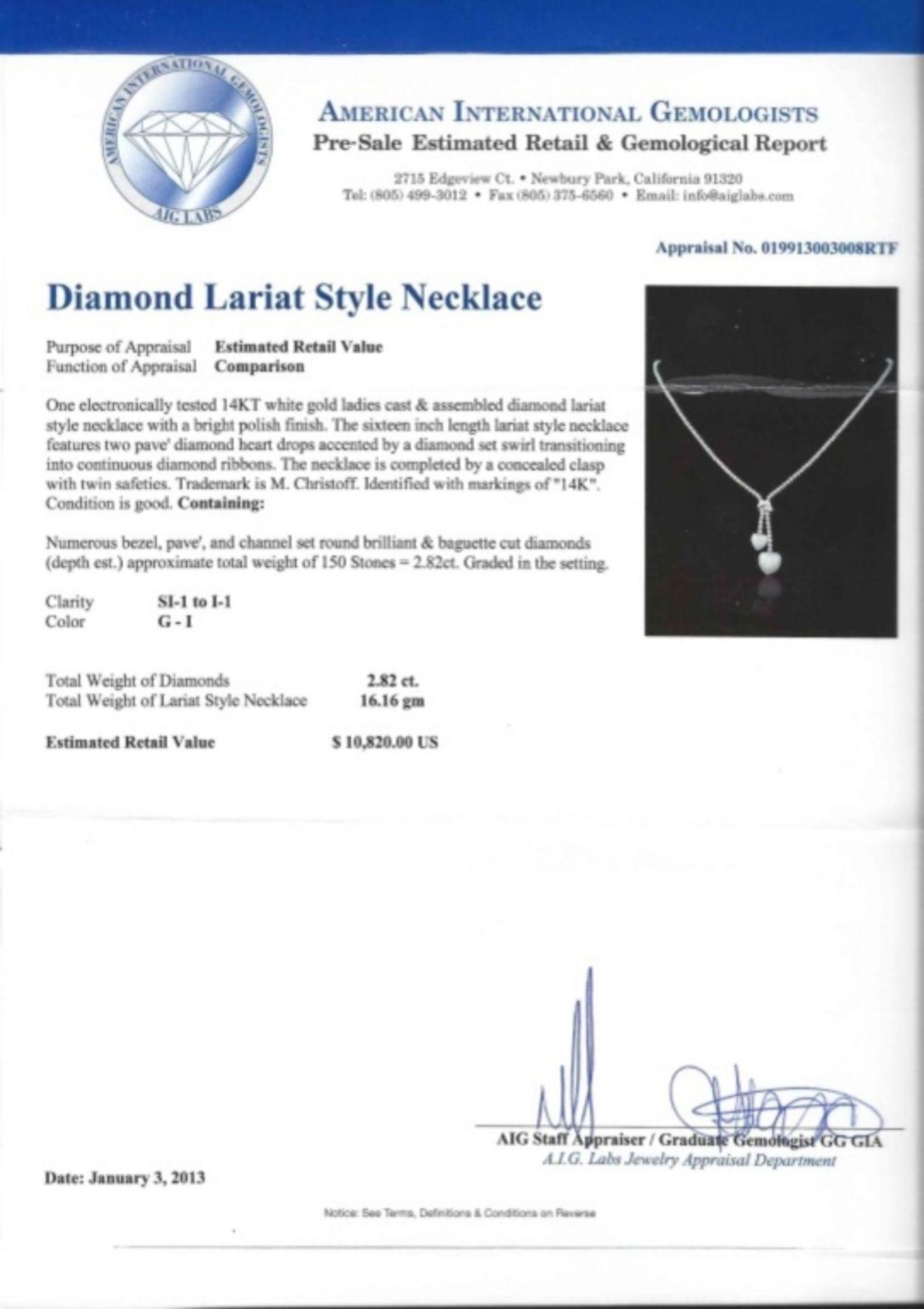 14K White Gold 2.82ct Lariat Style Diamond Neckla - Image 3 of 3