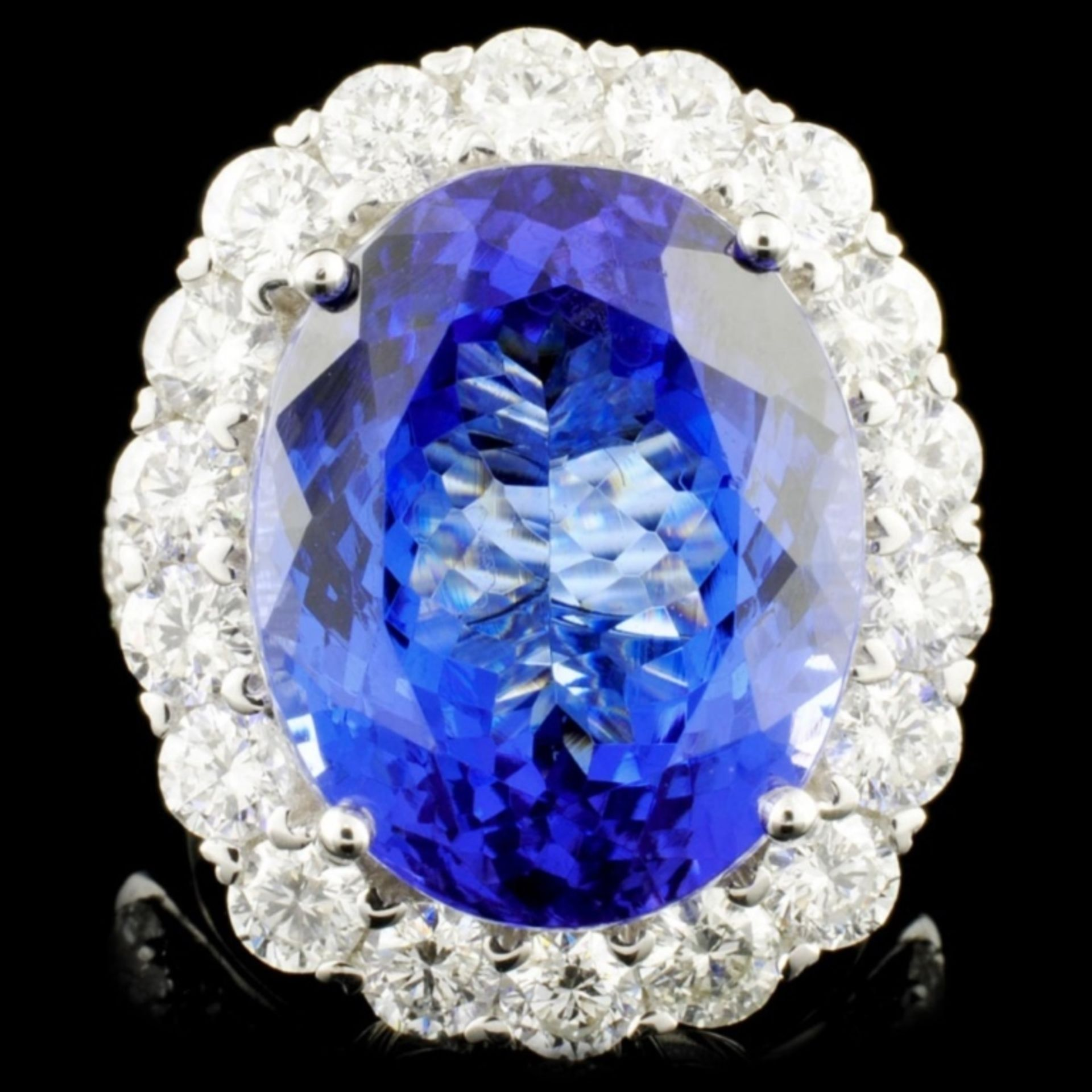 18K Gold 16.11ct Tanzanite & 3.06ctw Diamond Ring