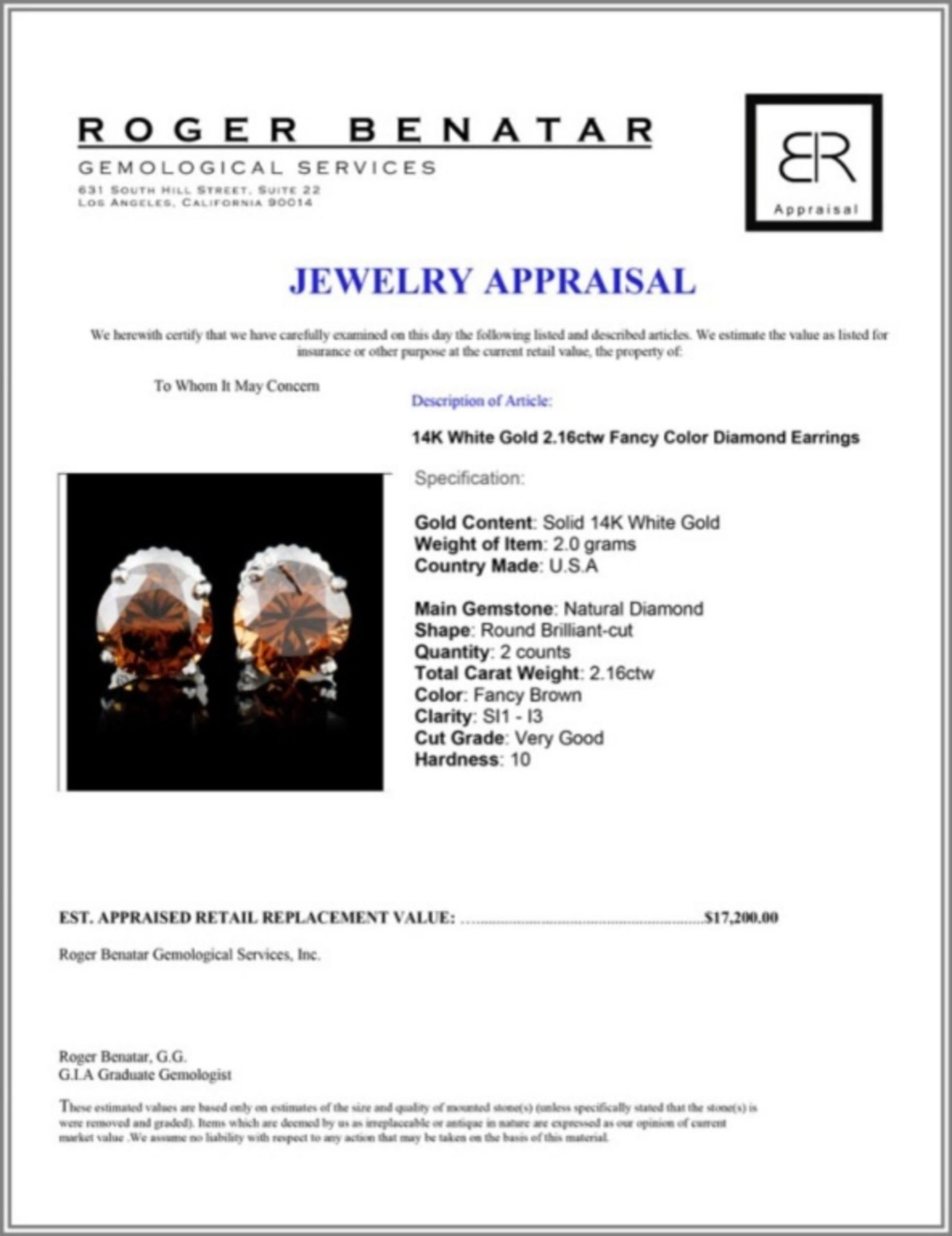 14K Gold 2.16ctw Fancy Color Diamond Earrings - Image 3 of 3