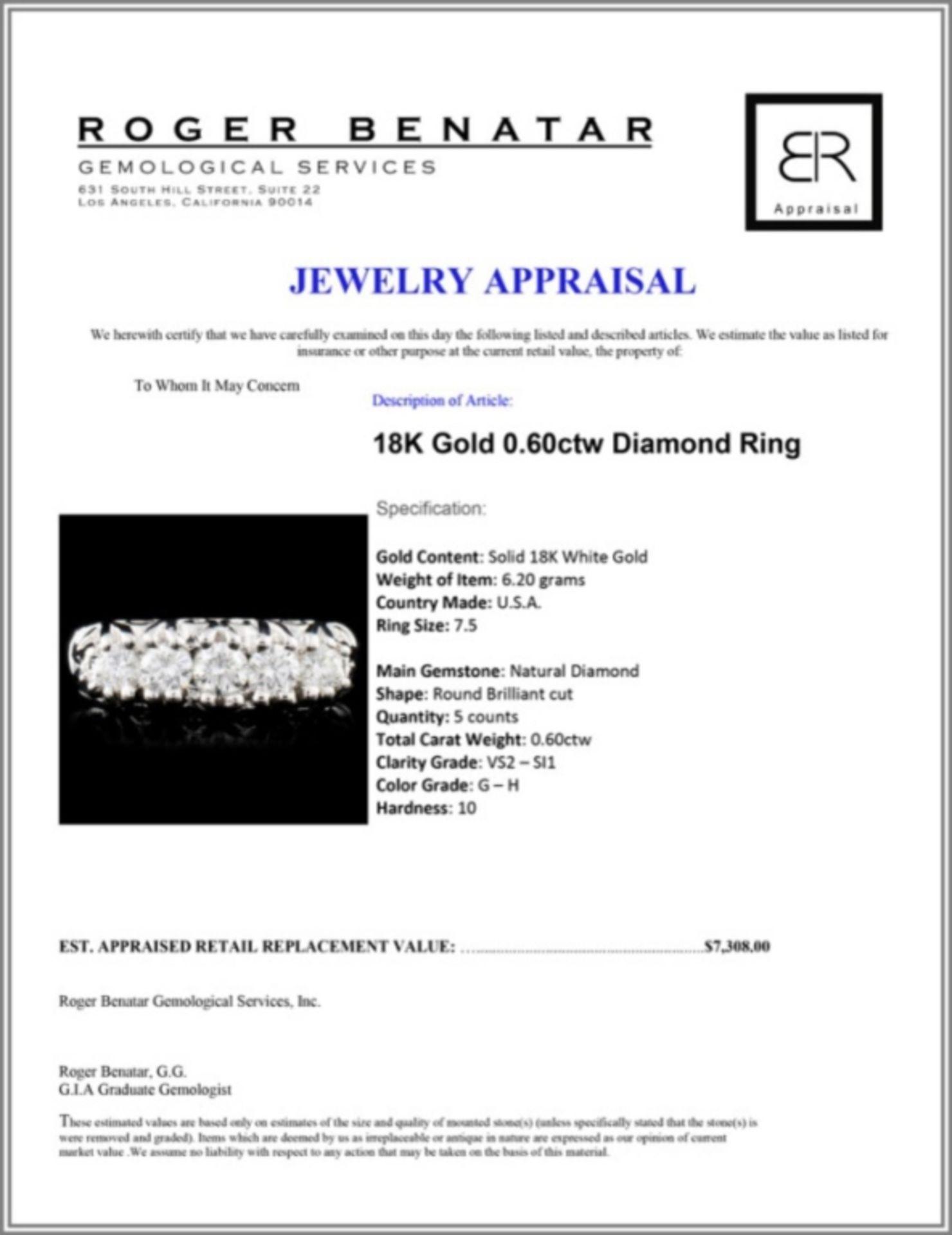 18K Gold 0.60ctw Diamond Ring - Image 3 of 3