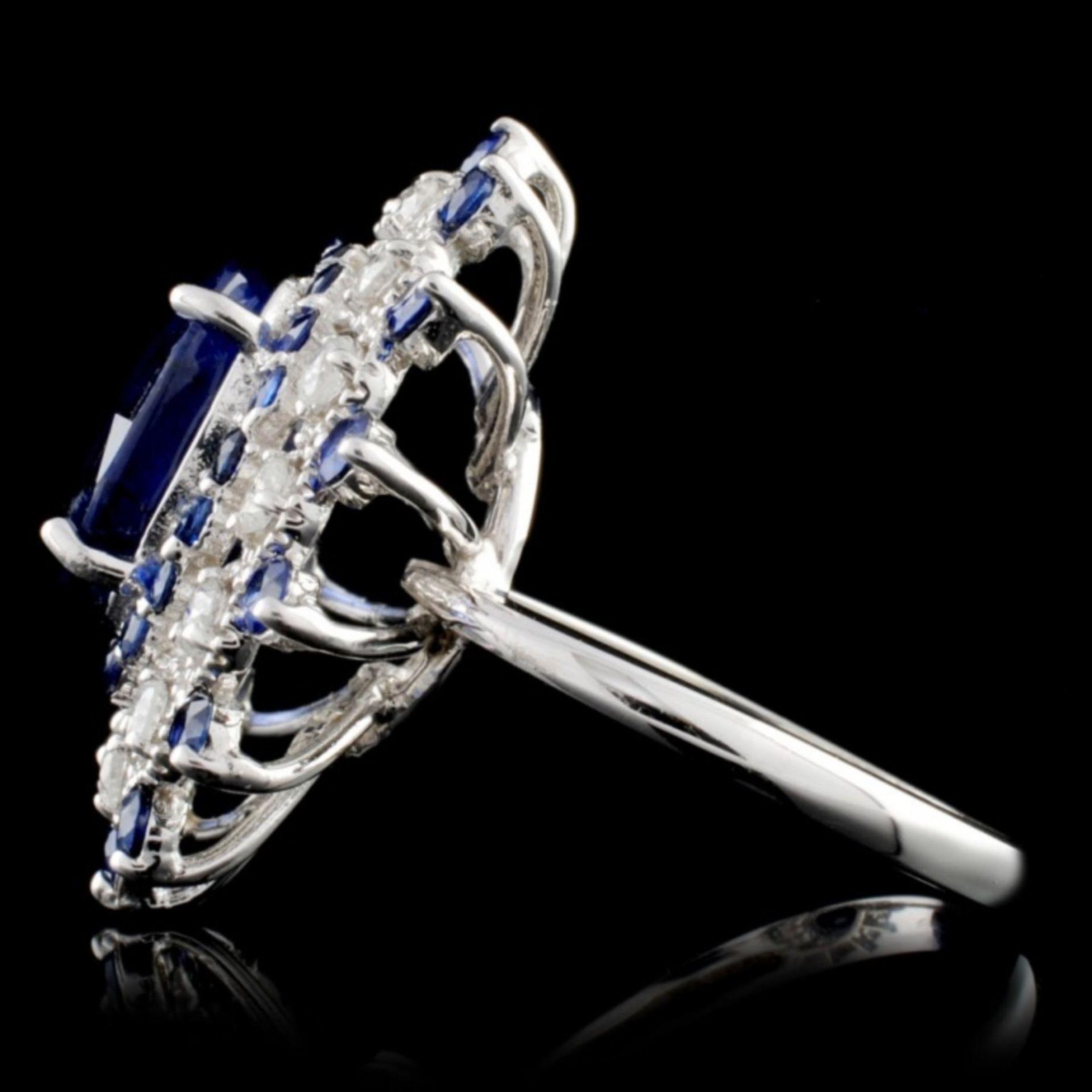 14K White Gold 7.50ct Sapphire & 1ct Diamond Ring - Image 3 of 4