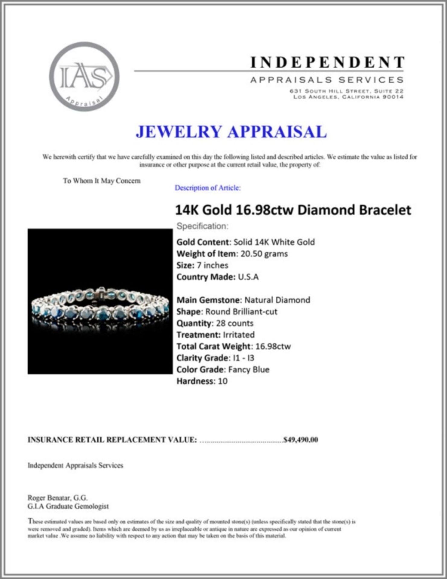 14K Gold 16.98ctw Tennis Diamond Bracelet - Image 4 of 4