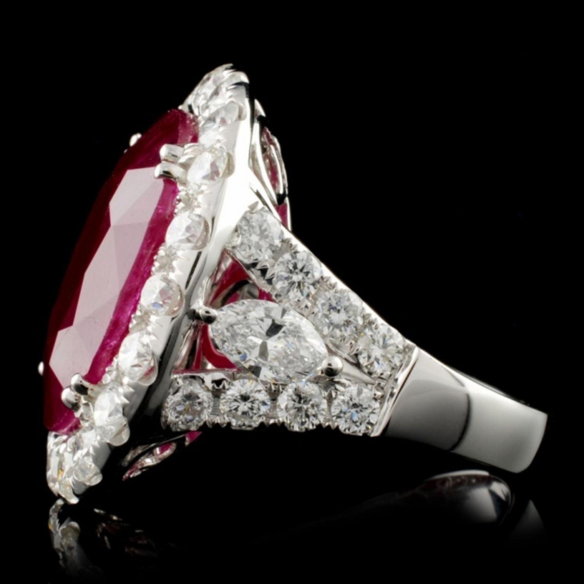 18K White Gold 15.55ct Ruby & 3.34ct Diamond Ring - Image 3 of 4