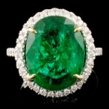 14K Gold 7.80ct Emerald & 0.44ctw Diamond Ring