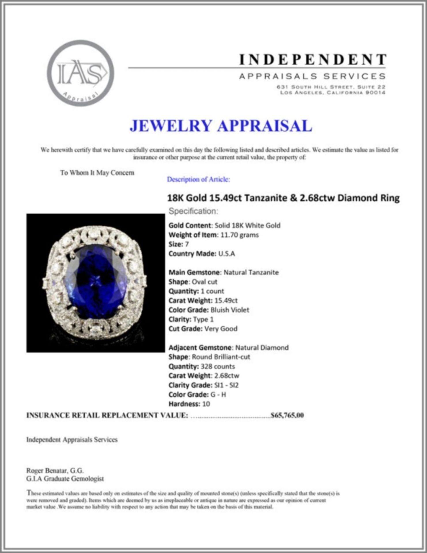 18K Gold 15.49ct Tanzanite & 2.68ctw Diamond Ring - Image 5 of 5