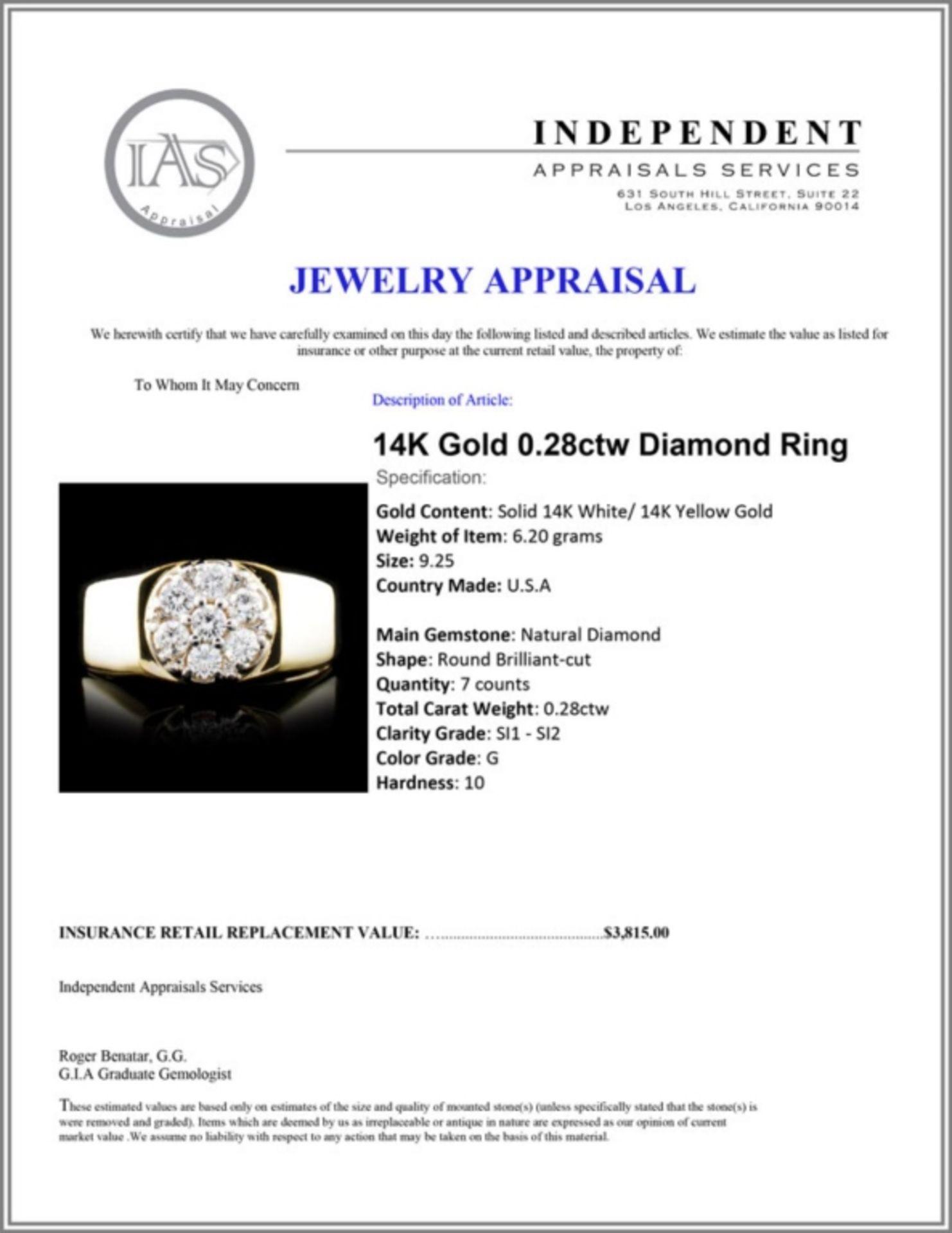 14K Gold 0.28ctw Diamond Ring - Image 5 of 5
