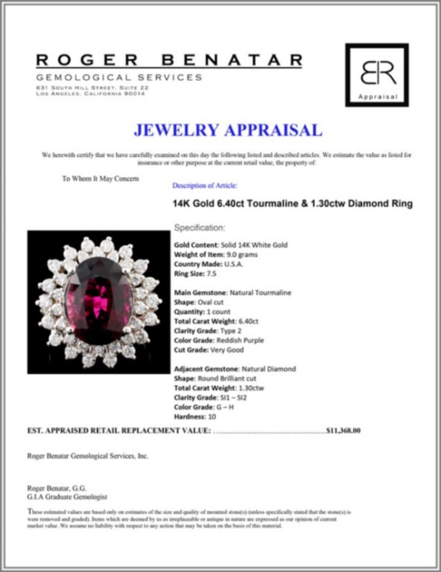14K Gold 6.40ct Tourmaline & 1.30ctw Diamond Ring - Image 4 of 4