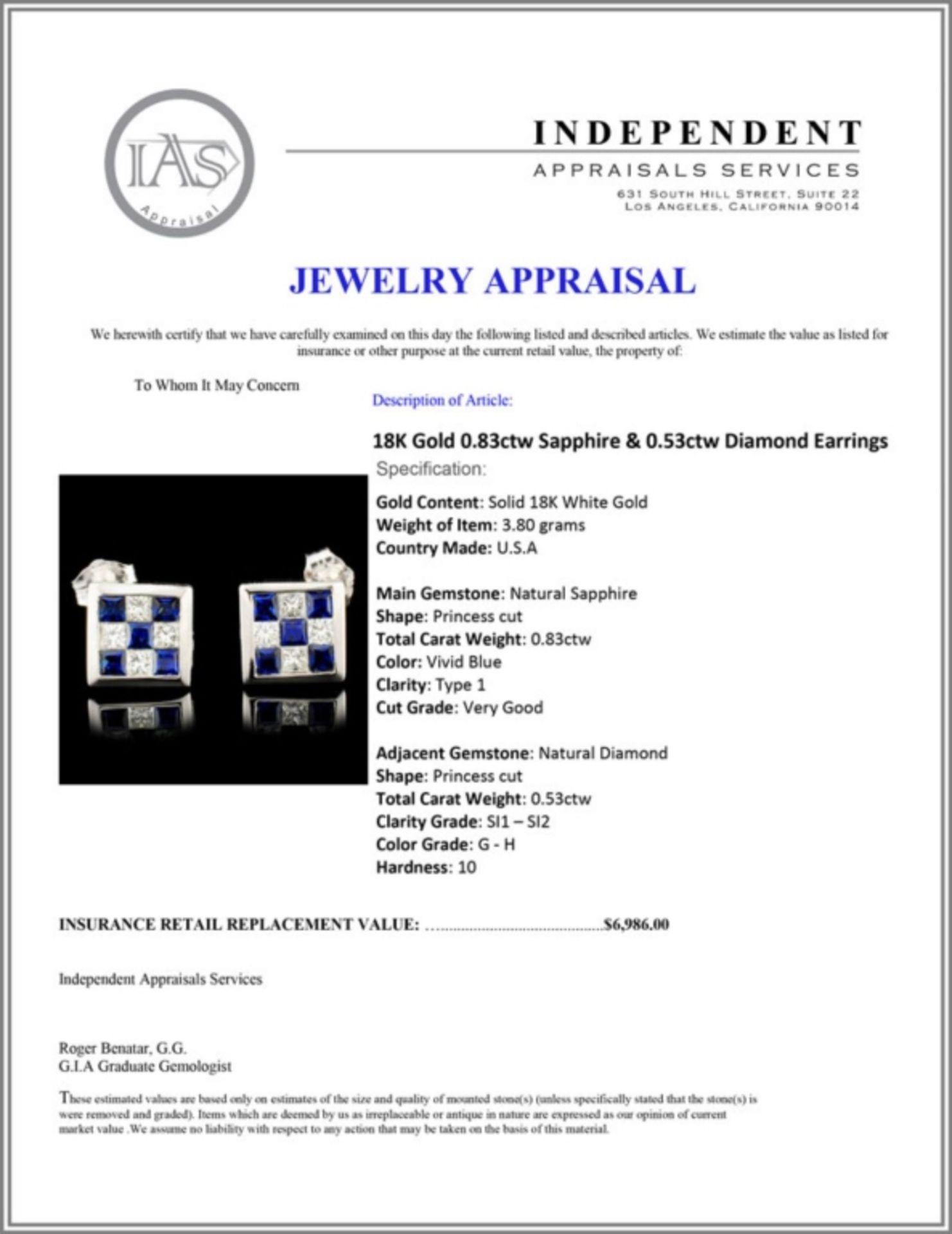 18K Gold 0.83ctw Sapphire & 0.53ctw Diamond Earrin - Image 3 of 3