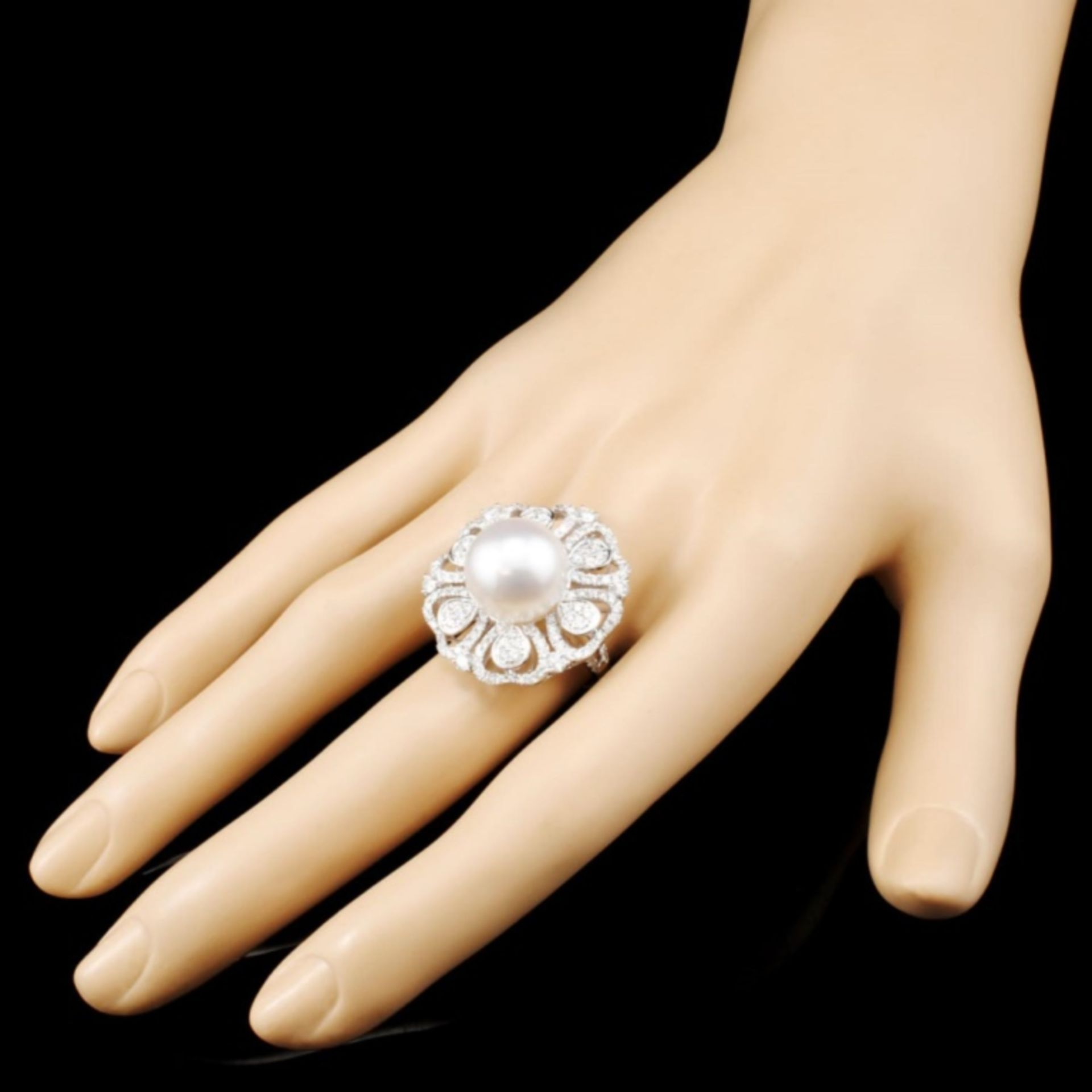 18K Gold 13MM Pearl & 1.61ctw Diamond Ring - Image 3 of 5