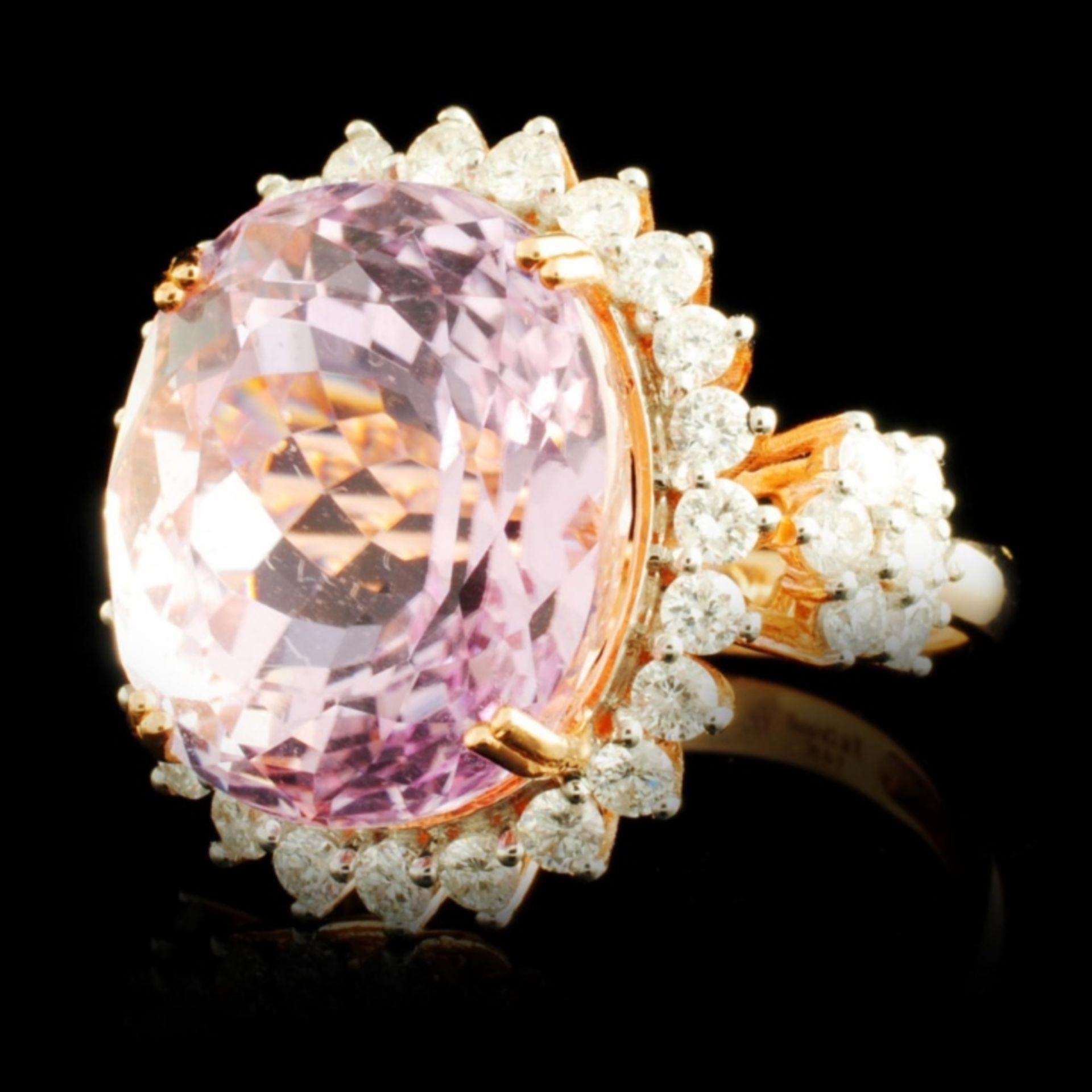 14K Gold 17.00ct Kunzite & 1.32ctw Diamond Ring - Image 2 of 5