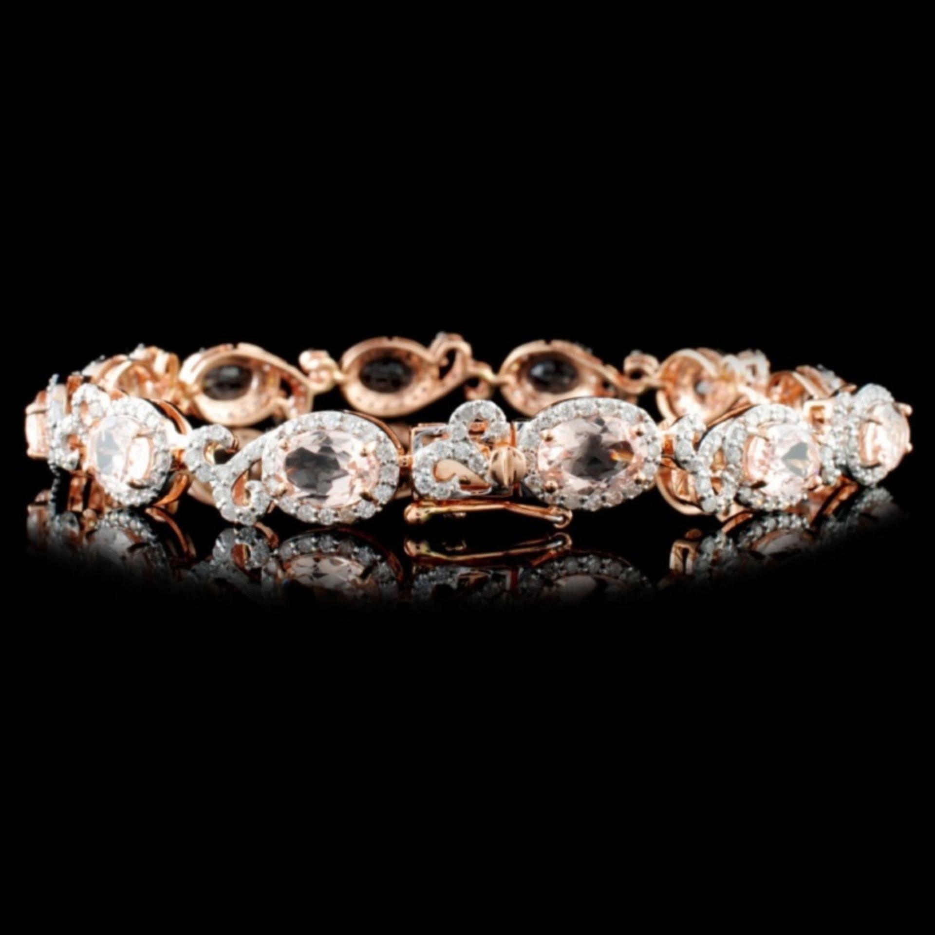 14K Gold 8.33ctw Morganite & 2.10ctw Diamond Brace - Image 2 of 3