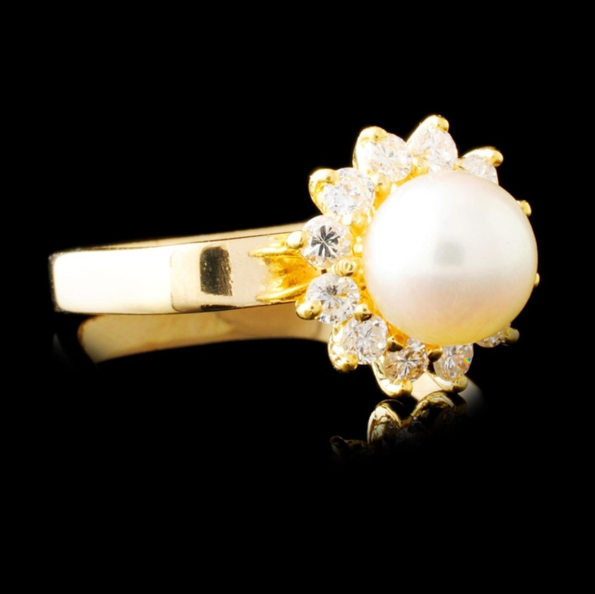 14K Gold 7.00MM Pearl & 0.42ctw Diamond Ring - Image 3 of 4